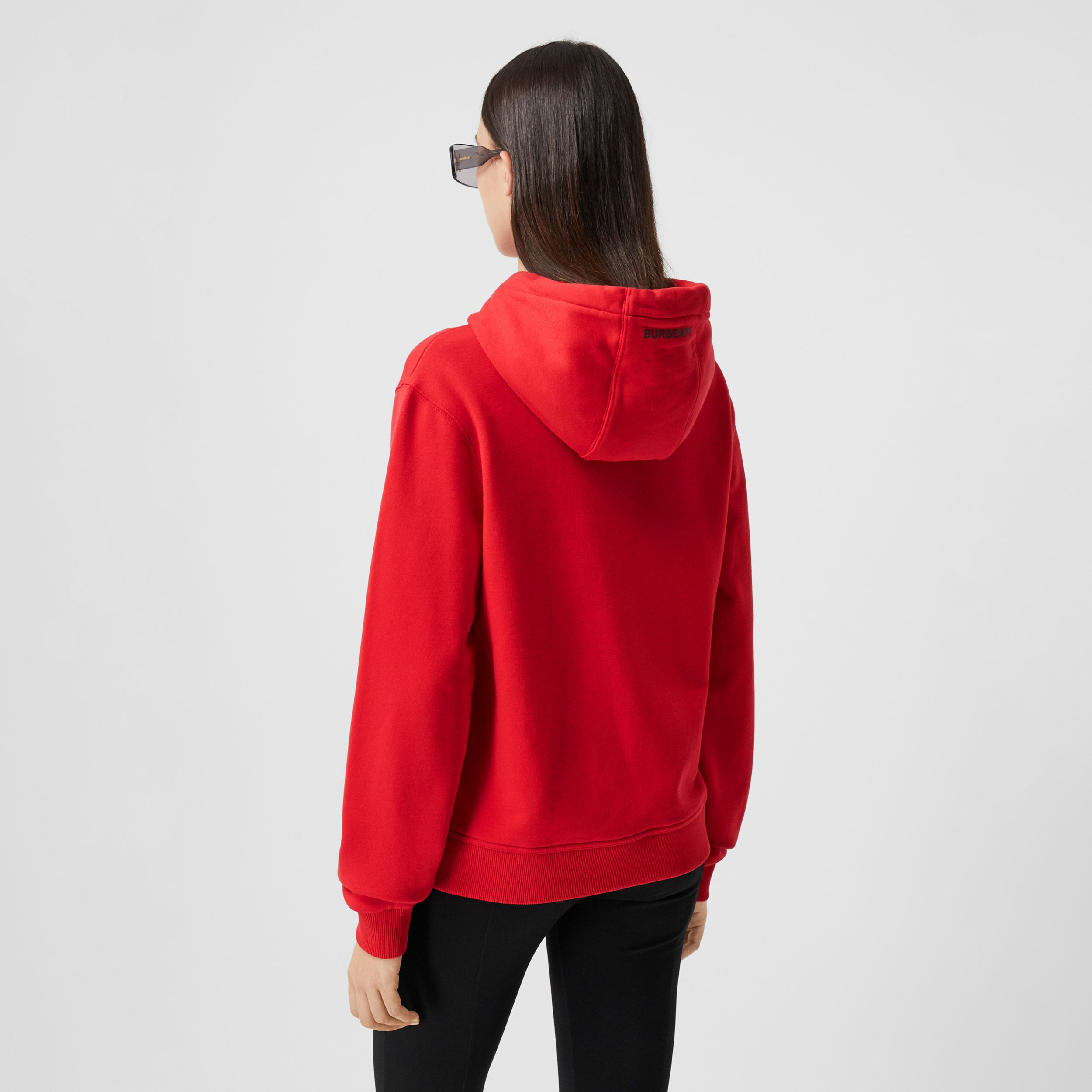 Slogan Print Cotton Oversized Hoodie in Bright Red - Women | Burberry - 3