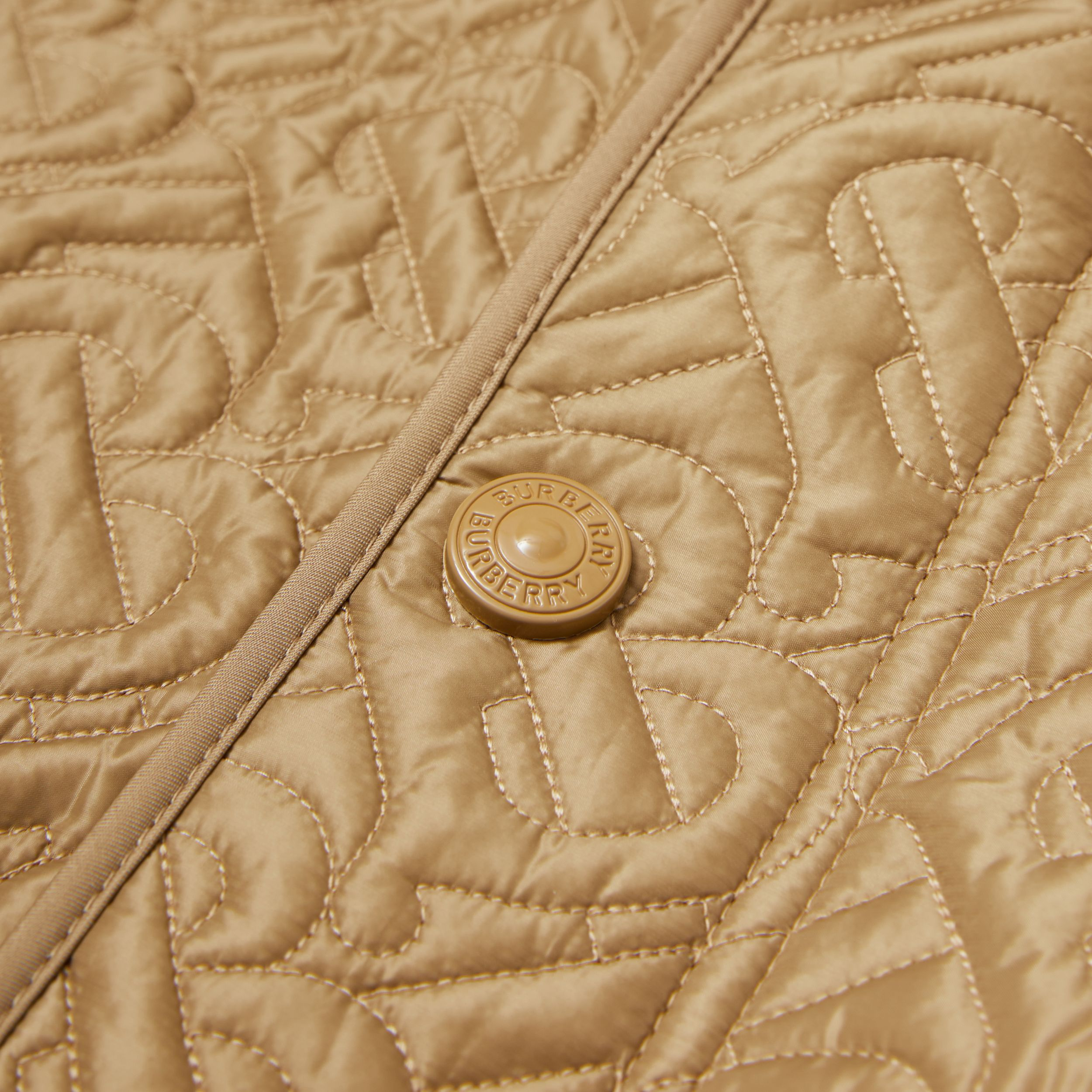 Monogram Quilted Panel Recycled Polyester Jacket in Honey | Burberry - 2