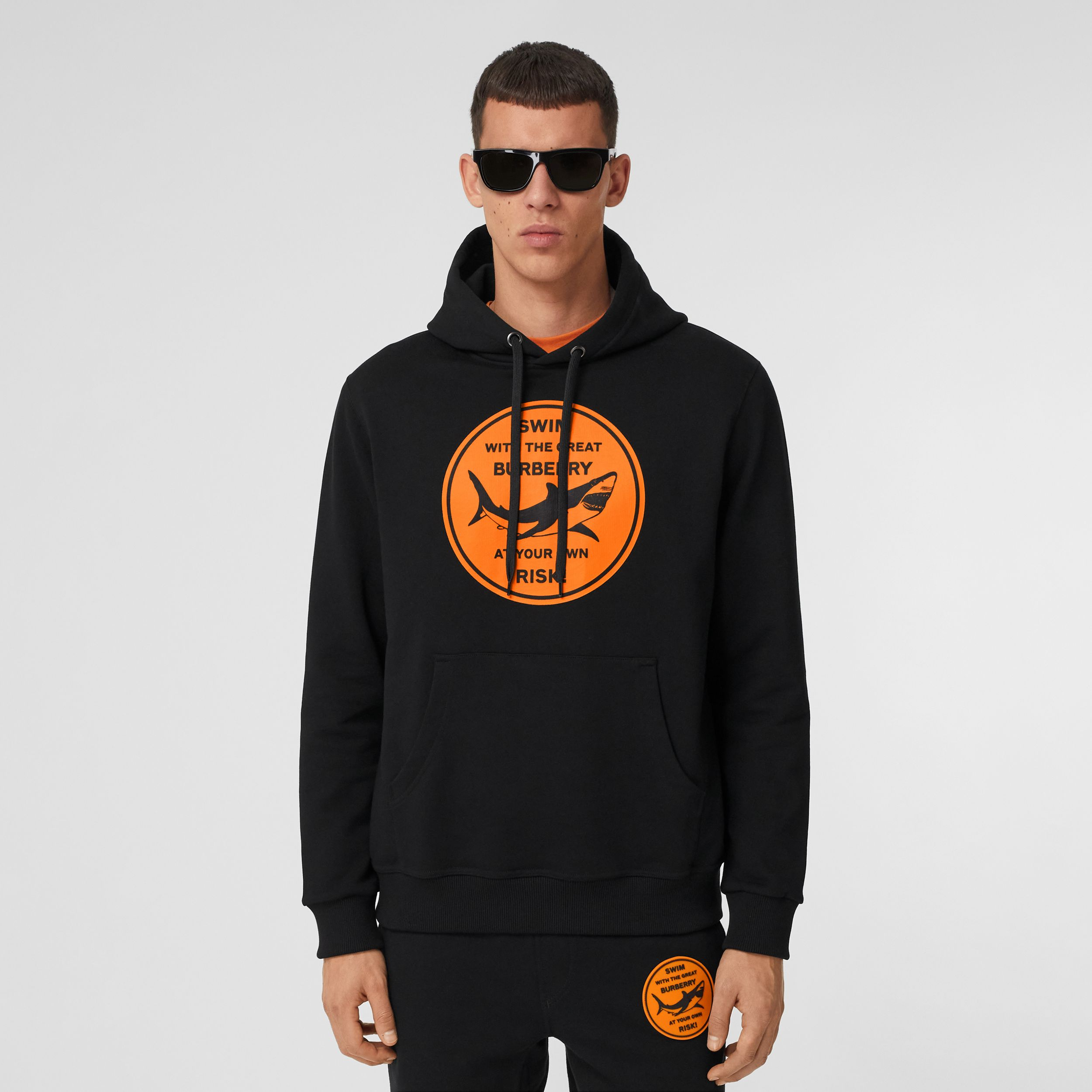 Shark Graphic Cotton Hoodie in Black - Men | Burberry - 1