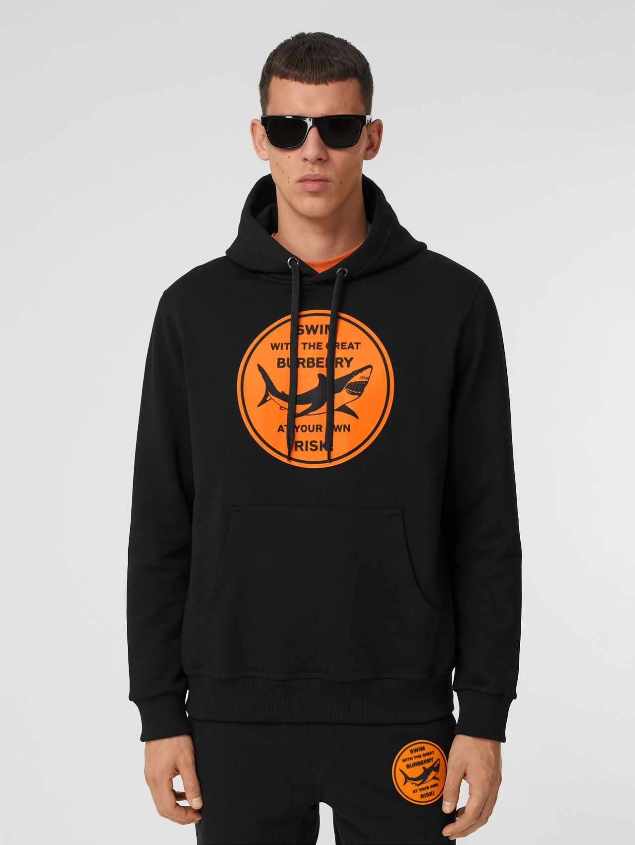 Shark Graphic Cotton Hoodie in Black