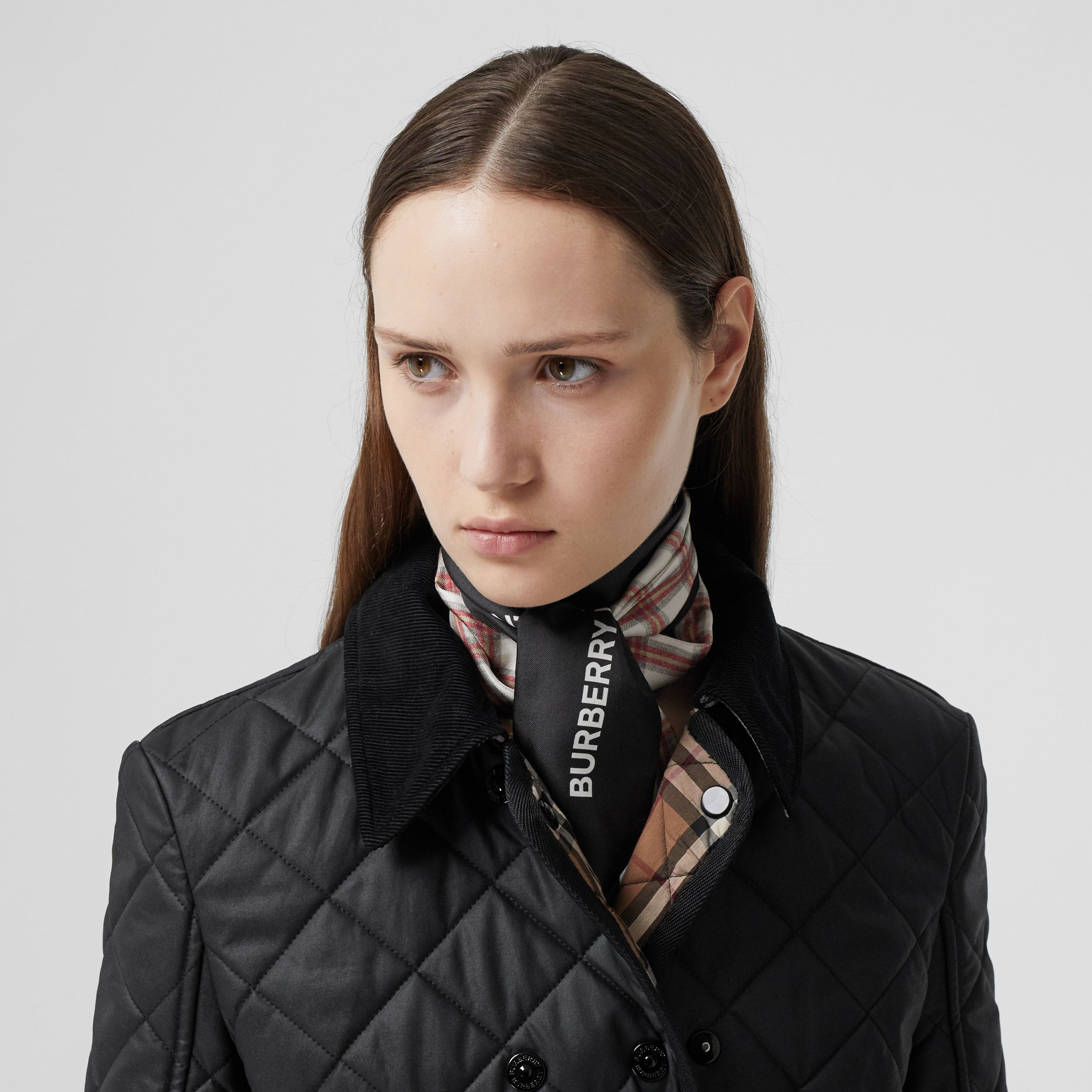 Check and Logo Print Silk Skinny Scarf in Grey Charcoal | Burberry - 3