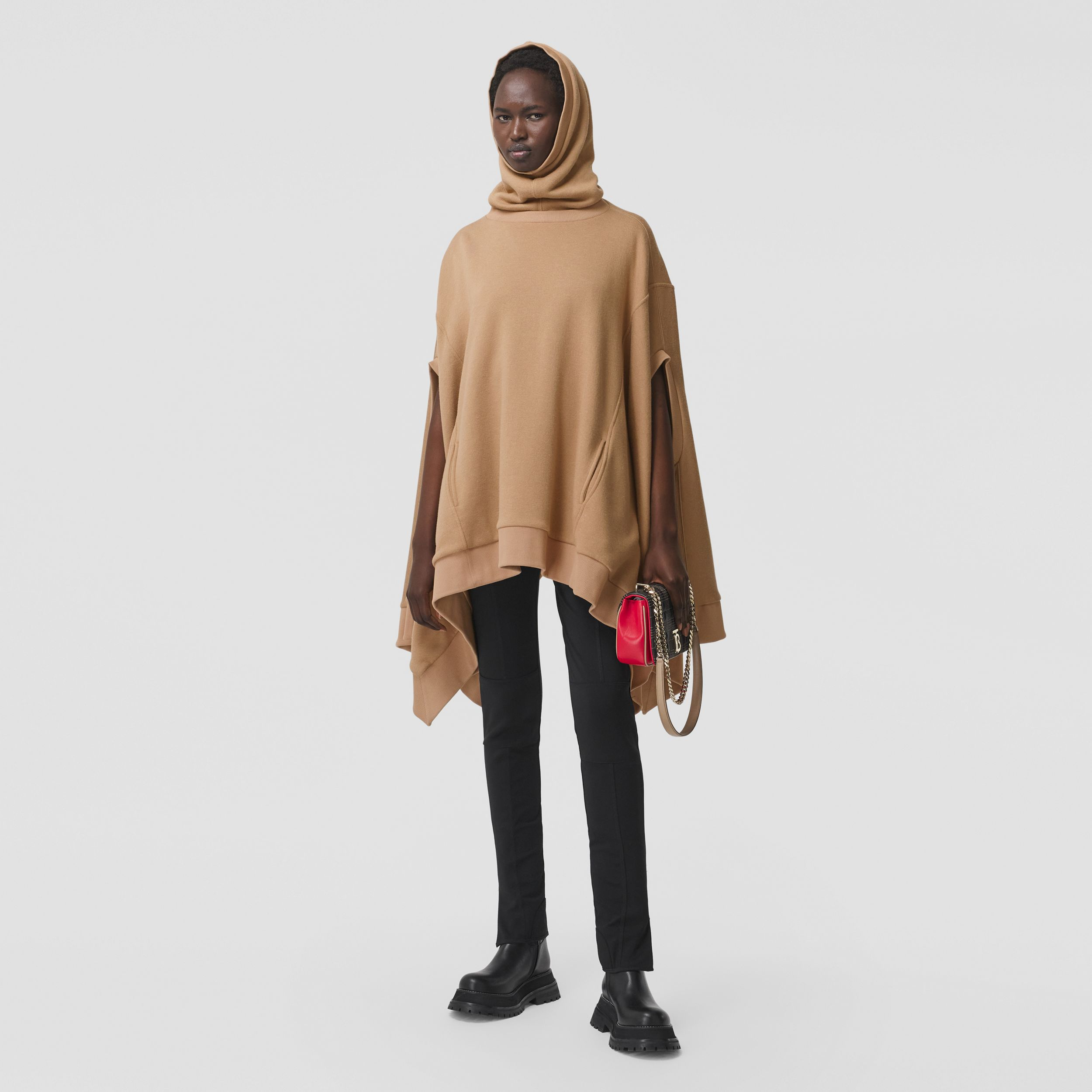 Cut-out Sleeve Jersey Hooded Cape in Camel - Women | Burberry - 1