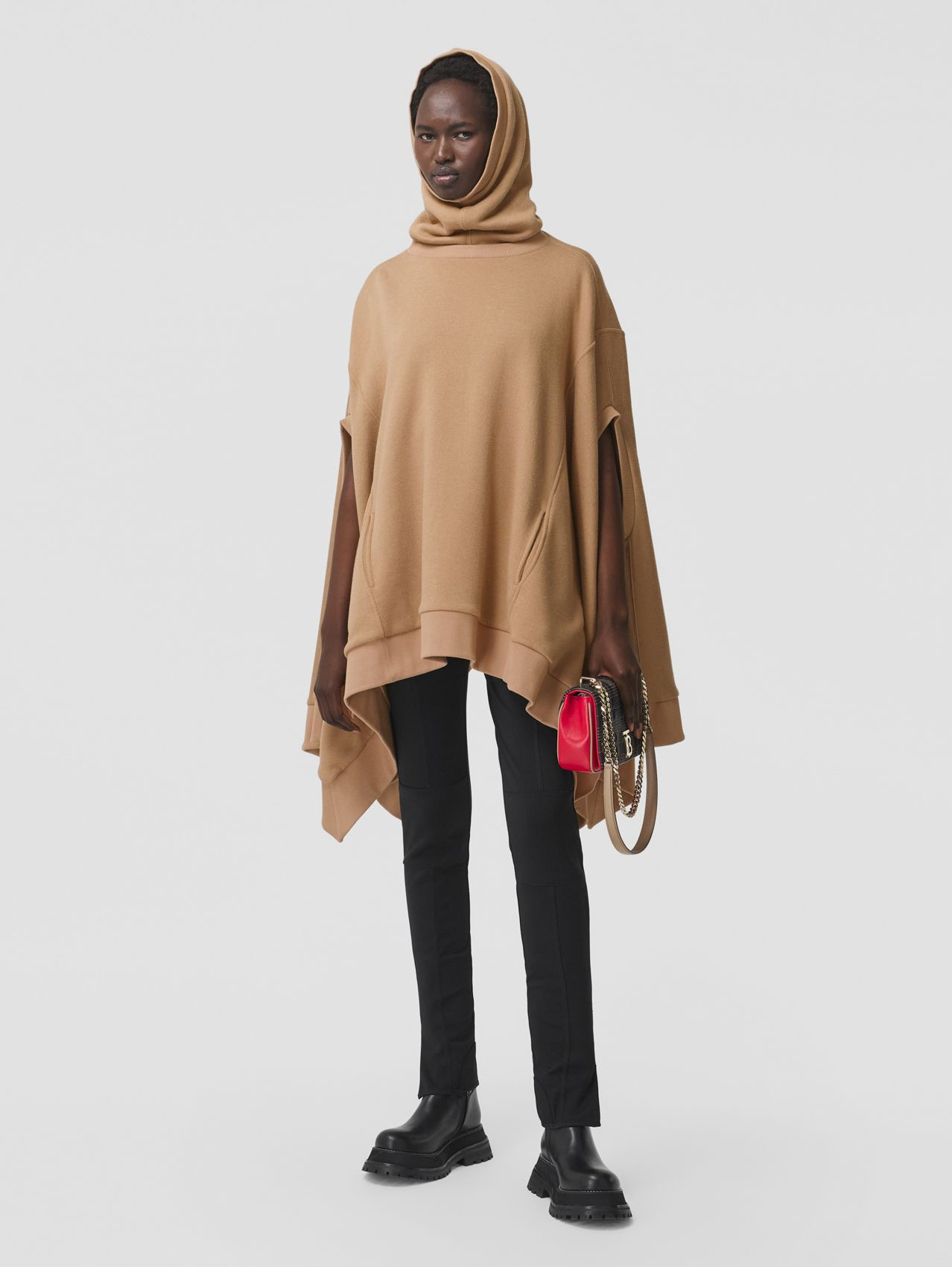 Cut-out Sleeve Jersey Hooded Cape in Camel