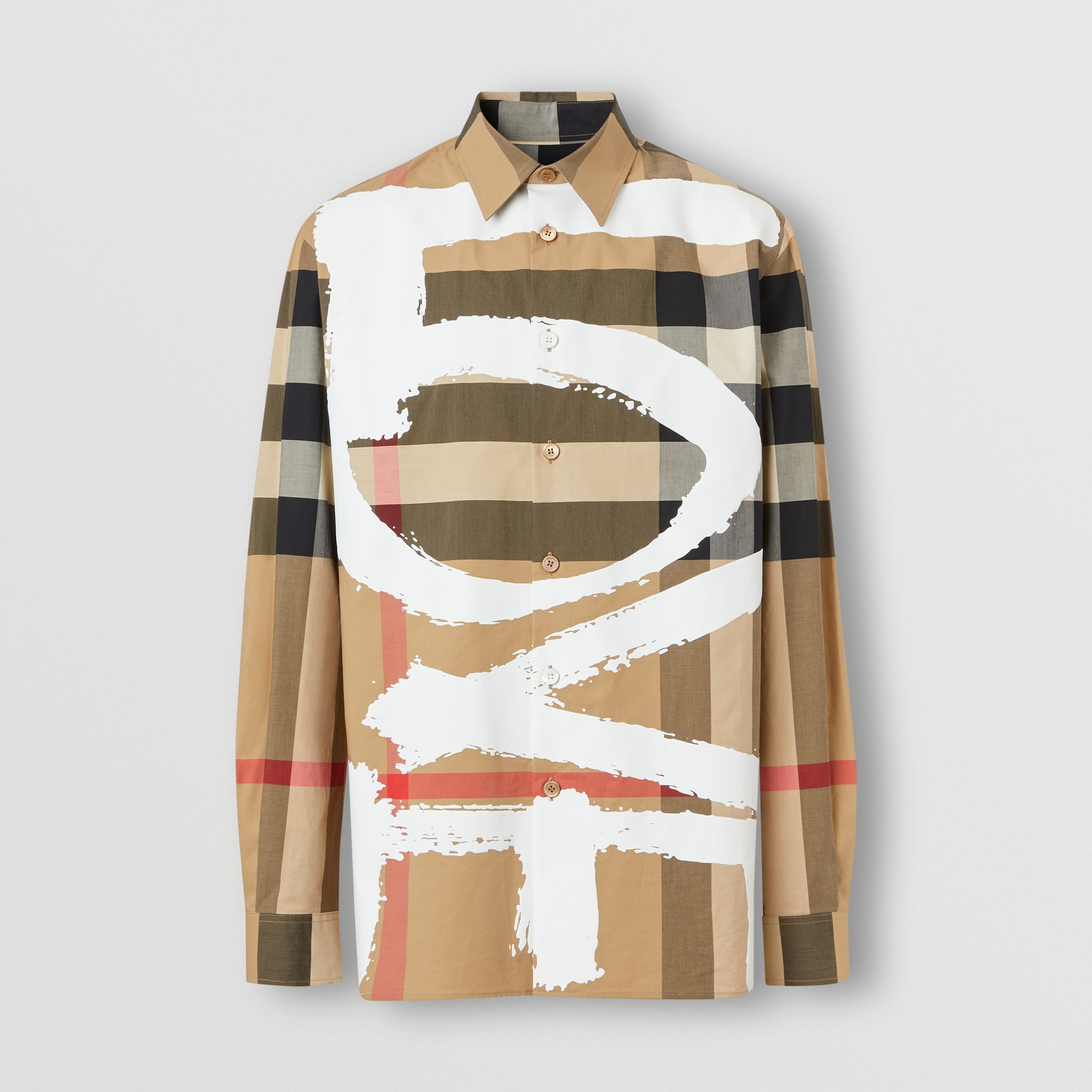 Love Print Check Stretch Cotton Oversized Shirt in Archive Beige - Men | Burberry - 4