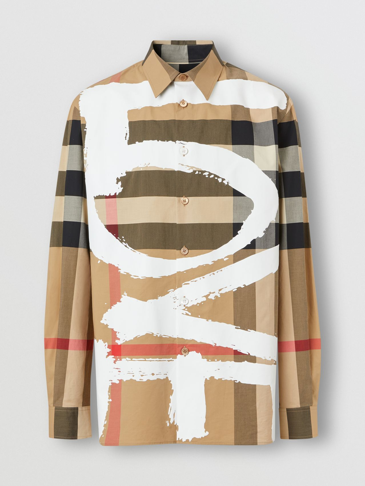 Love Print Check Stretch Cotton Oversized Shirt in Archive Beige