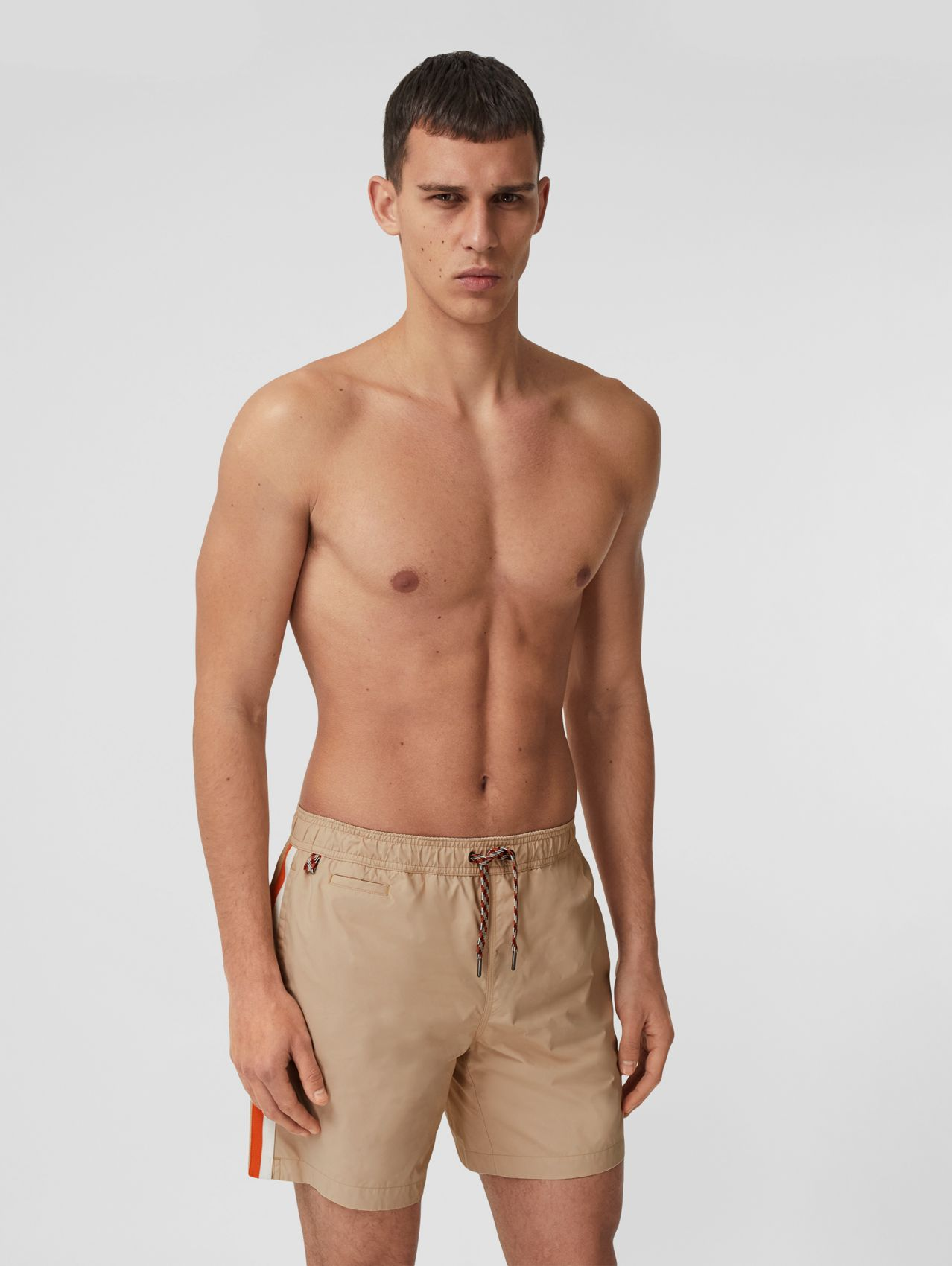 Contrast Side Stripe Drawcord Swim Shorts in Soft Fawn