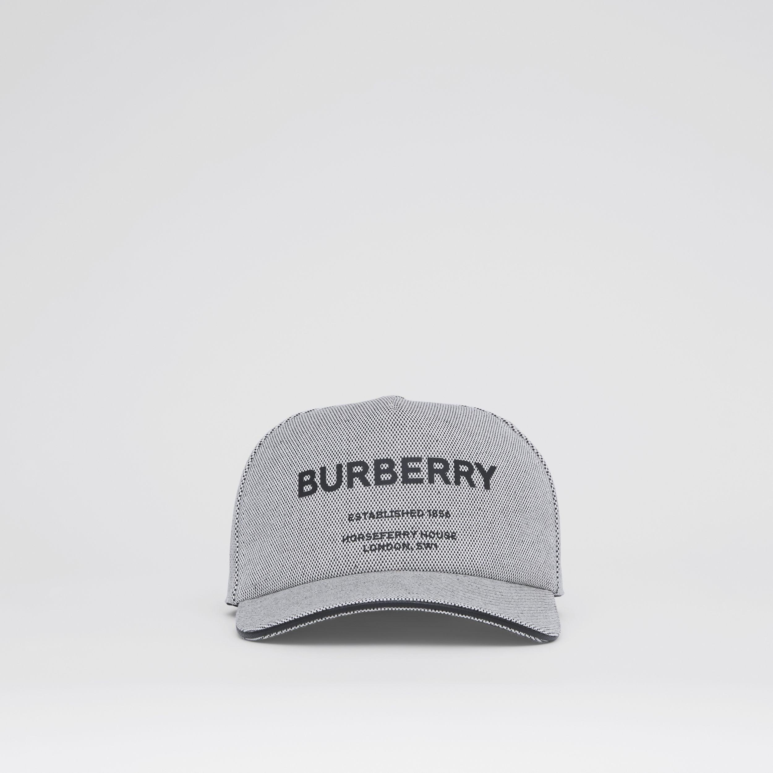 Horseferry Print Cotton Canvas Baseball Cap in Black/white | Burberry - 1