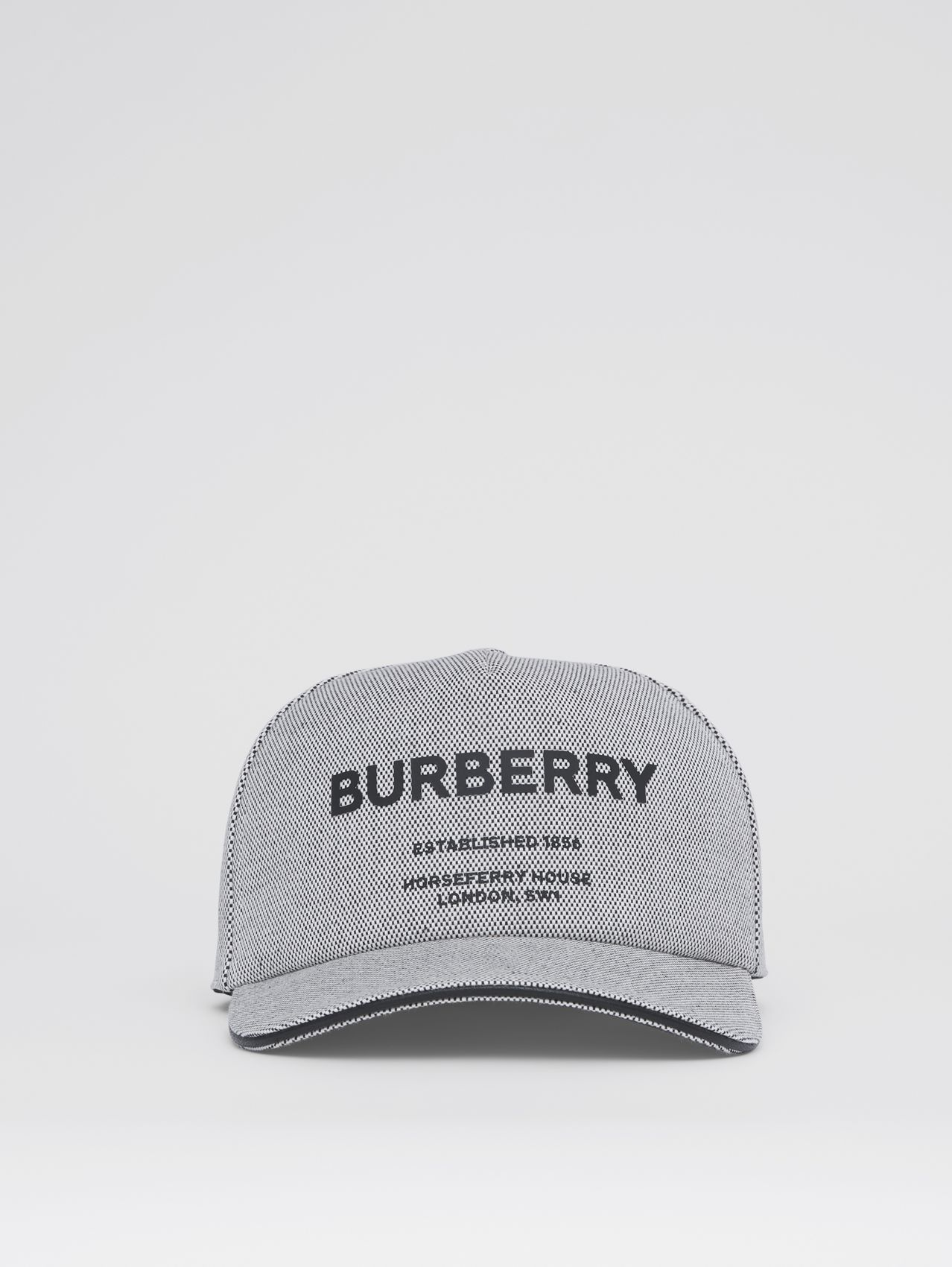 Horseferry Print Cotton Canvas Baseball Cap in Black/white