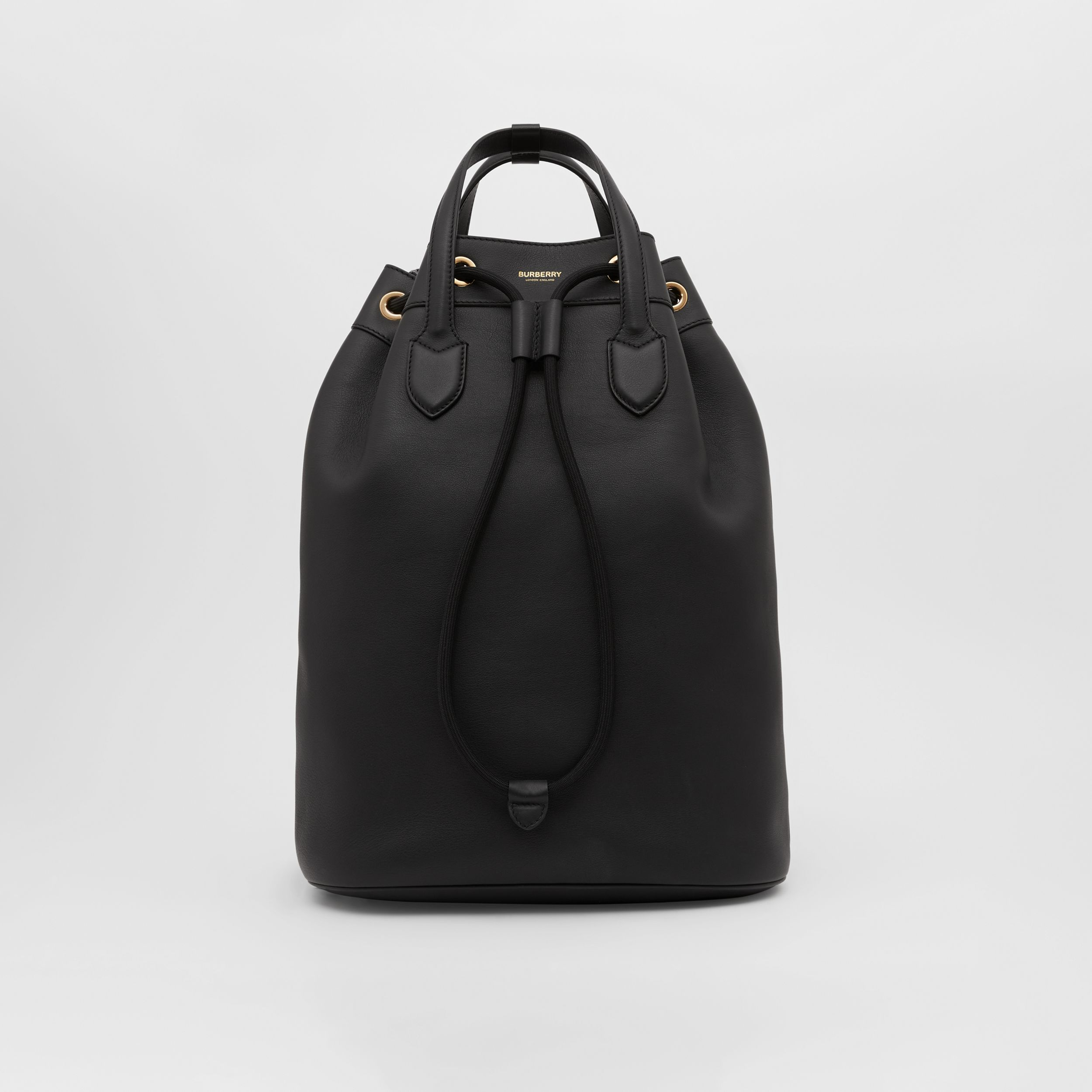 Leather Drawcord Backpack in Black | Burberry - 1