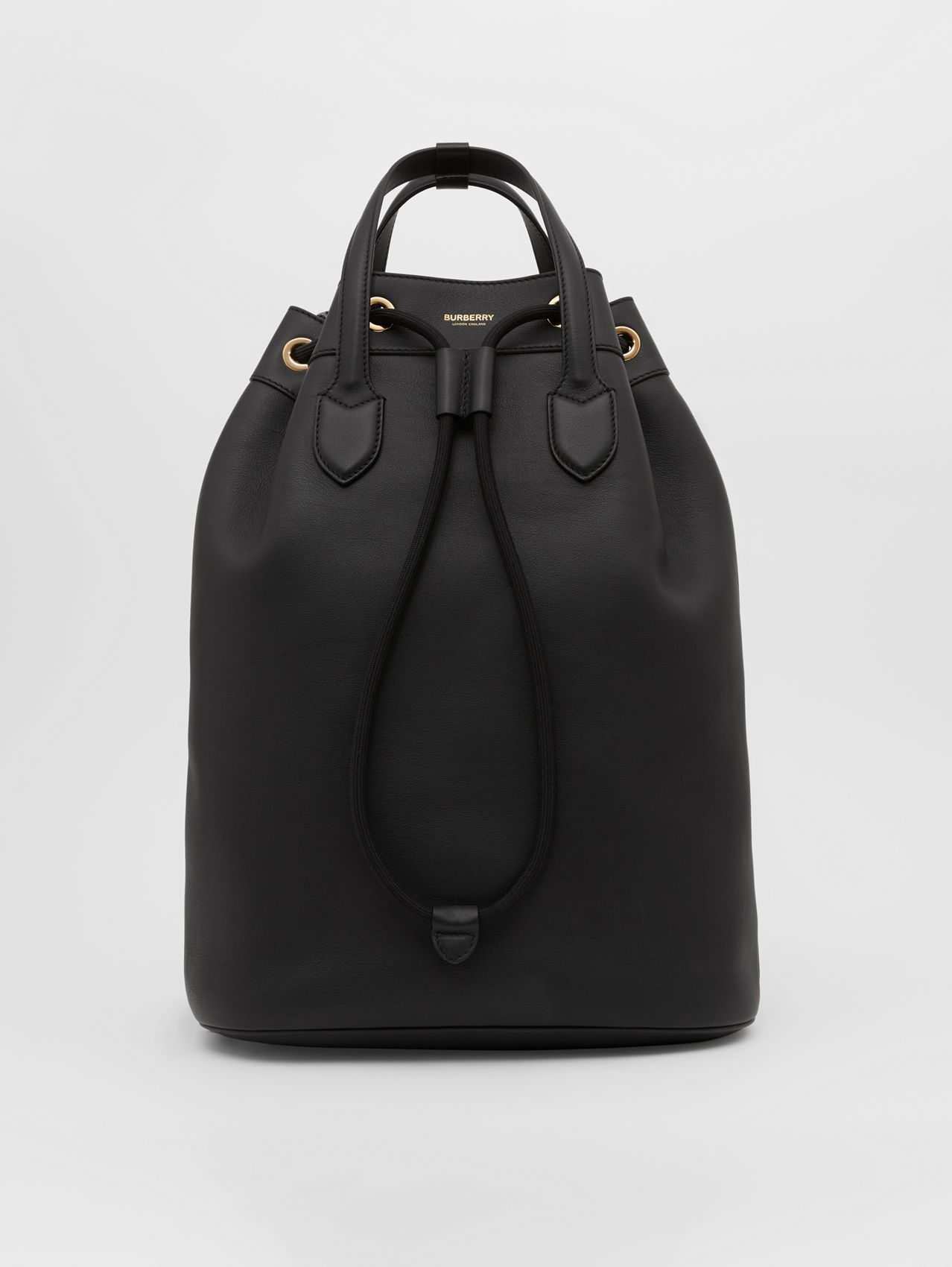 Leather Drawcord Backpack in Black