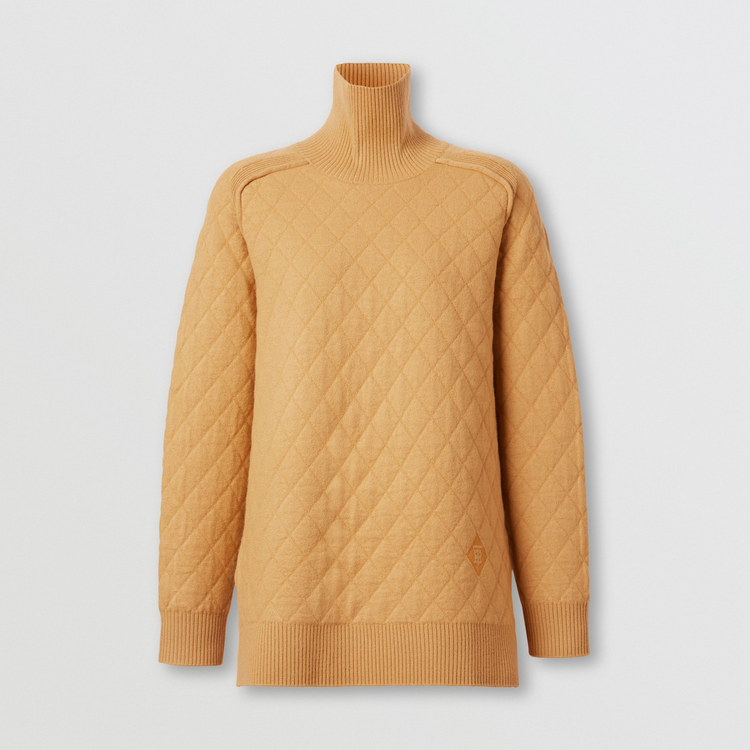 Diamond Knit Wool Funnel Neck Sweater in Camel - Women | Burberry - 4