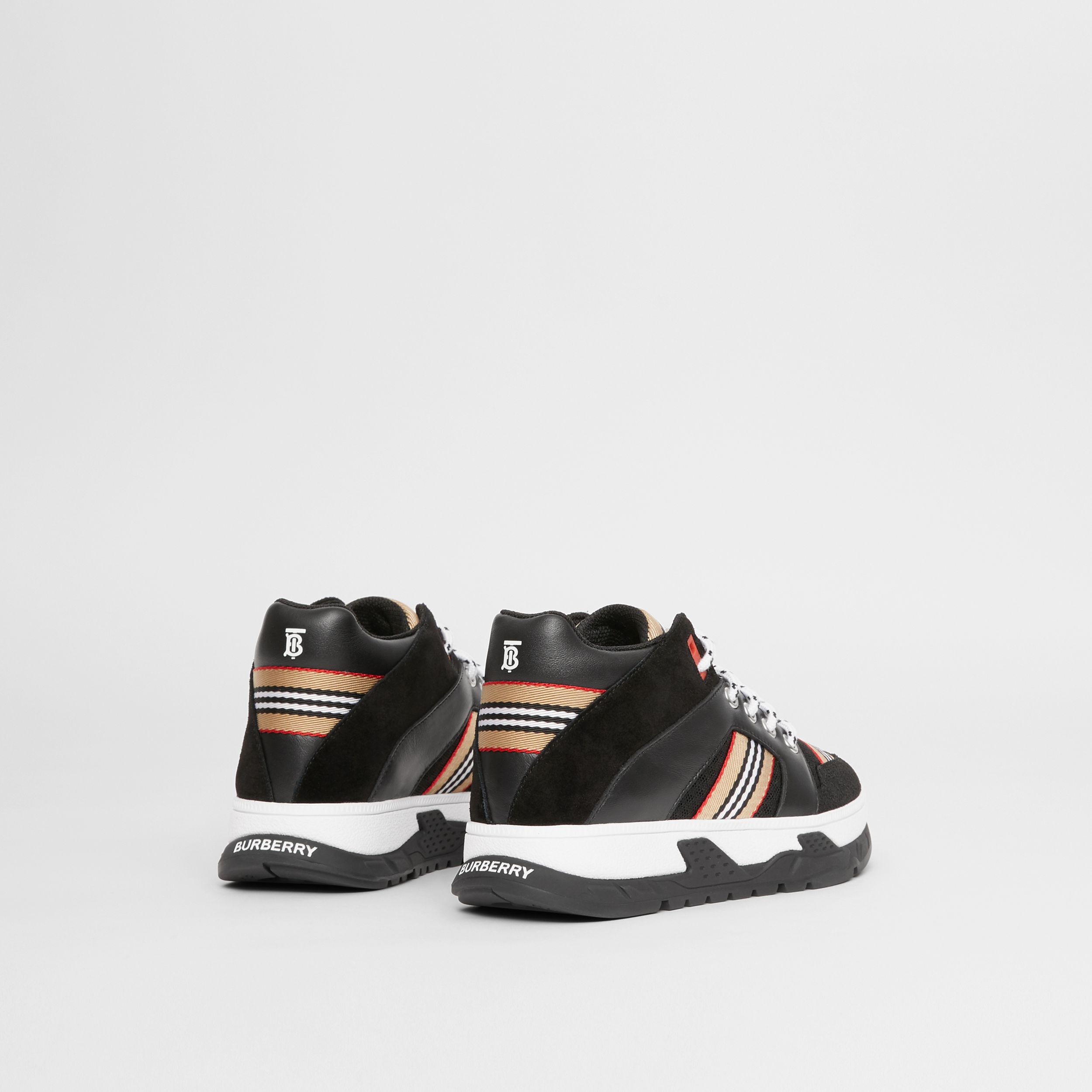 Icon Stripe Detail Suede and Mesh High-top Sneakers in Black - Children | Burberry Canada - 3