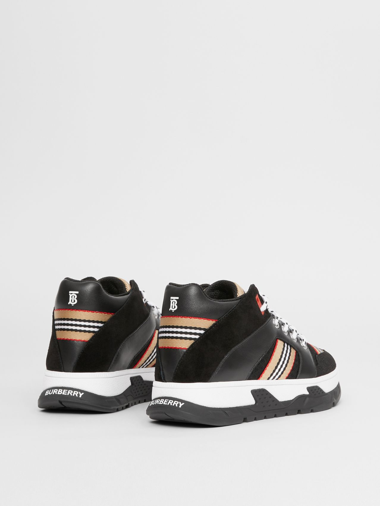 Icon Stripe Detail Suede and Mesh High-top Sneakers in Black
