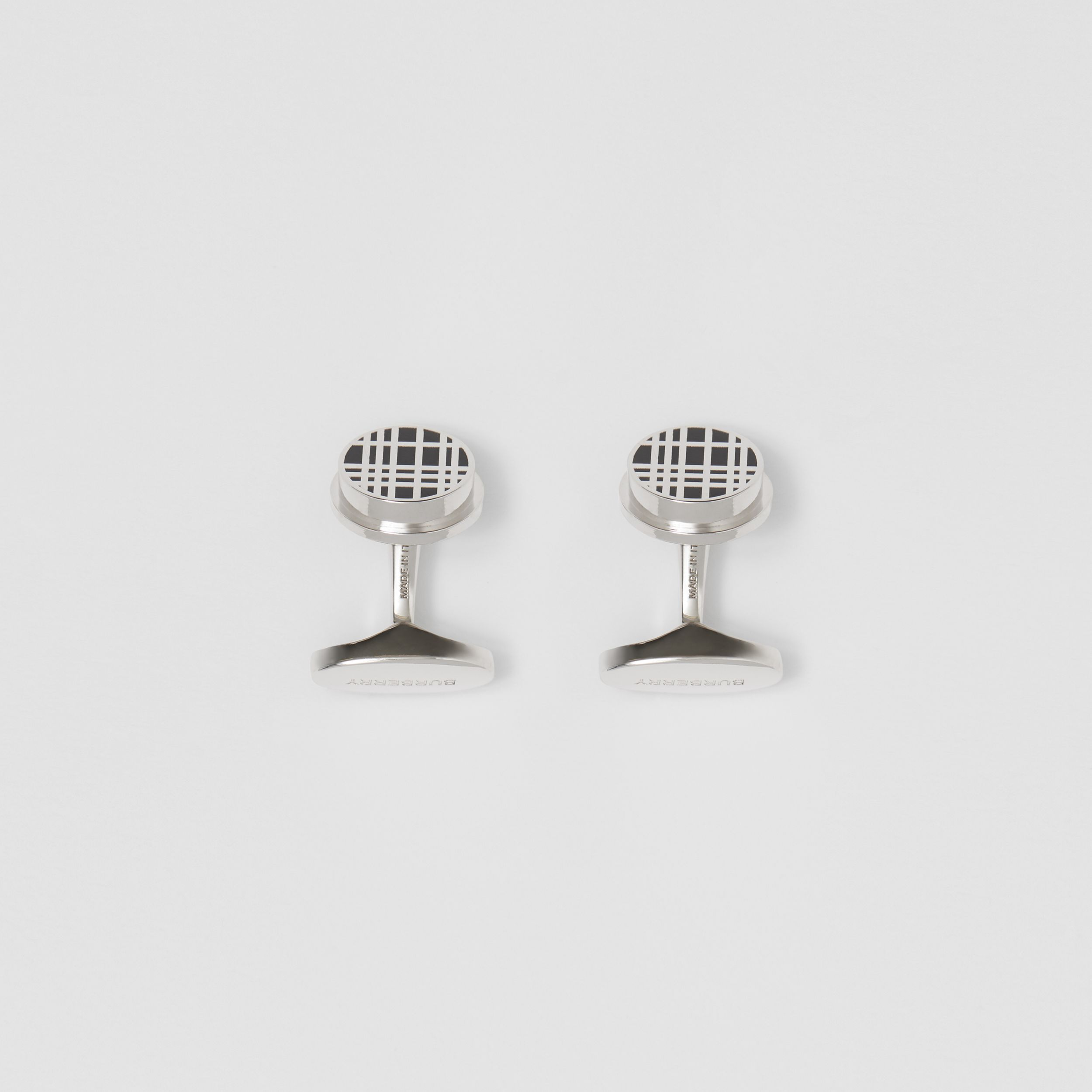 Check Detail Palladium-plated Cufflinks in Palladium/black - Men | Burberry - 3