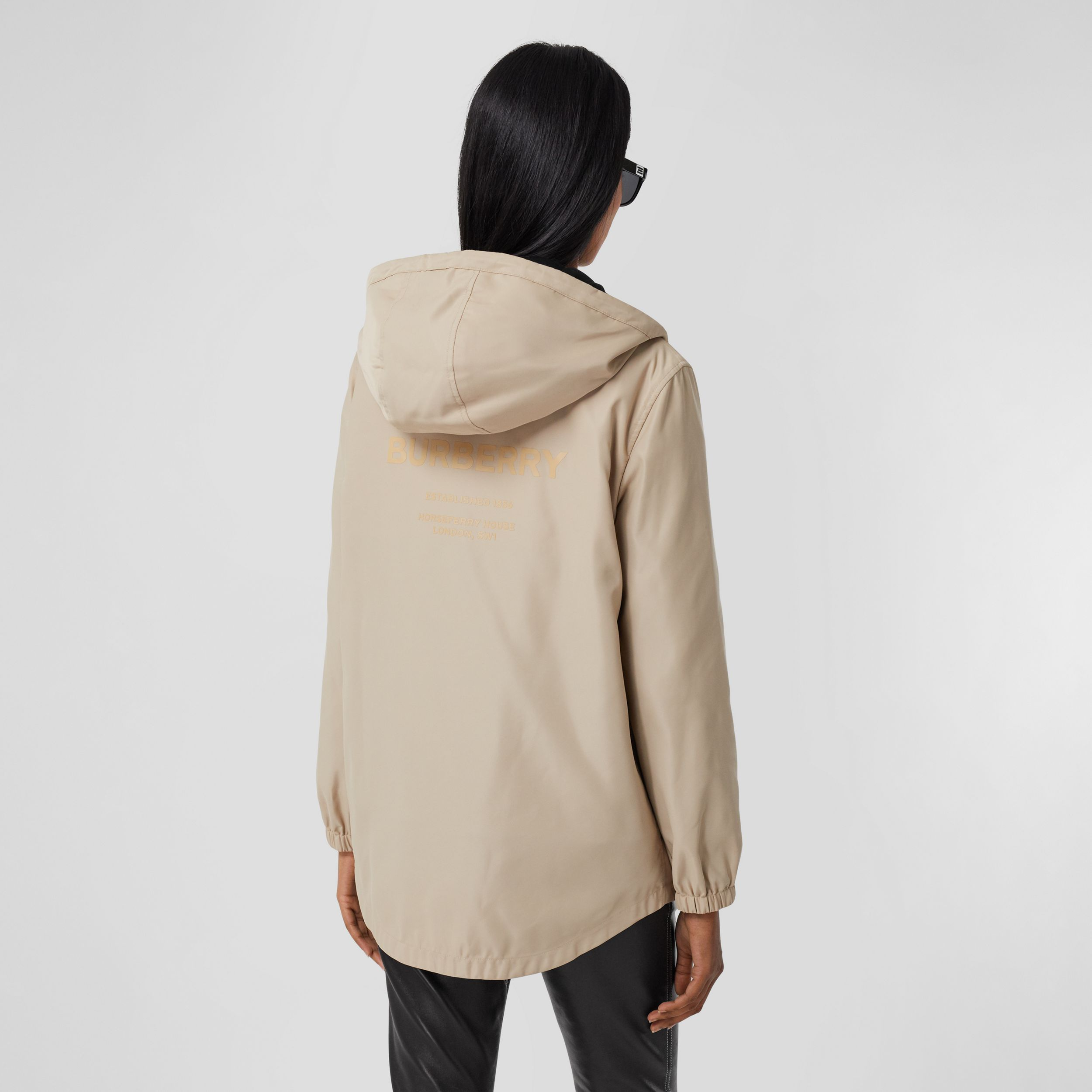 Horseferry Print Lightweight Hooded Parka in Soft Fawn - Women | Burberry - 3