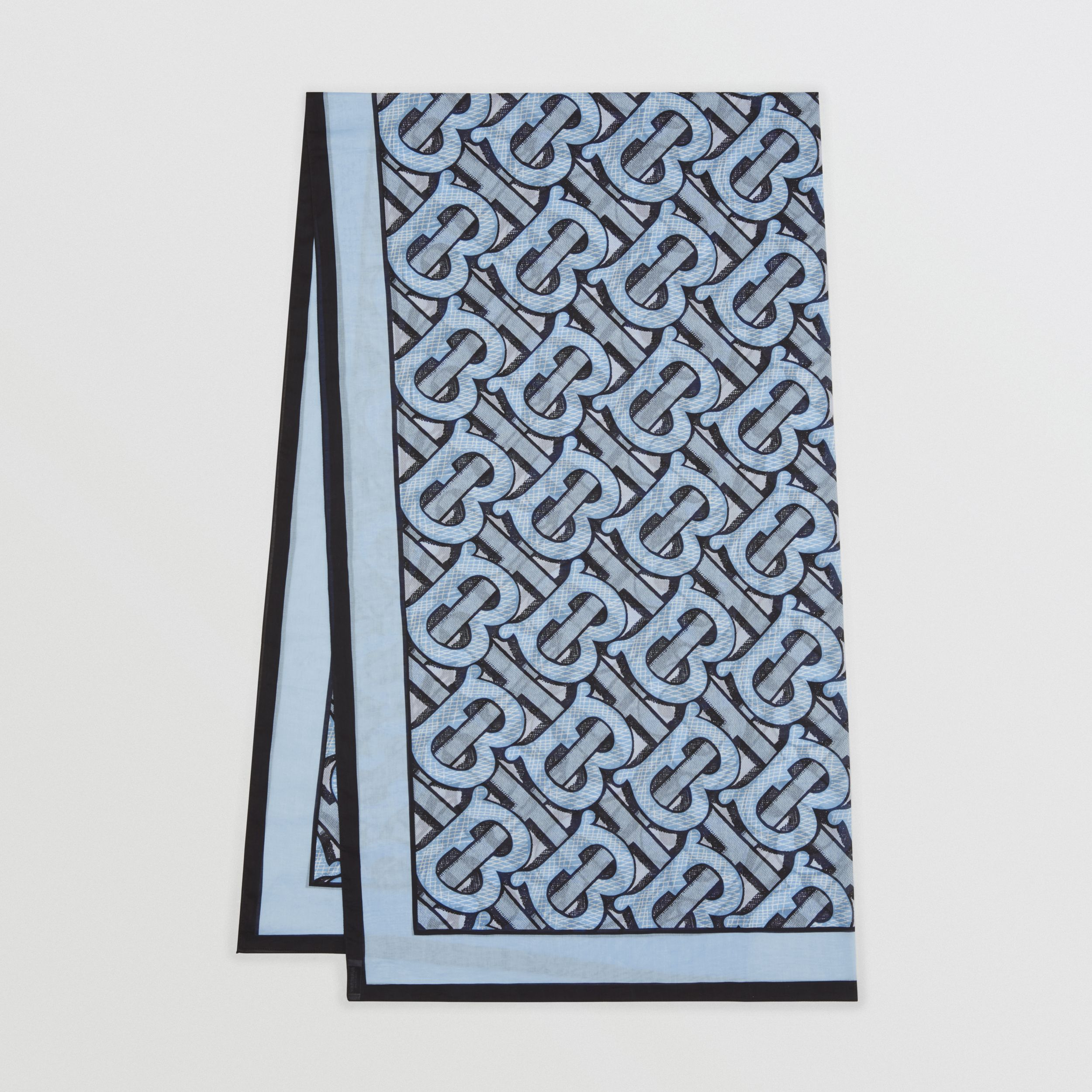 Monogram Print Lightweight Cotton Scarf in Pale Azure | Burberry United States - 1