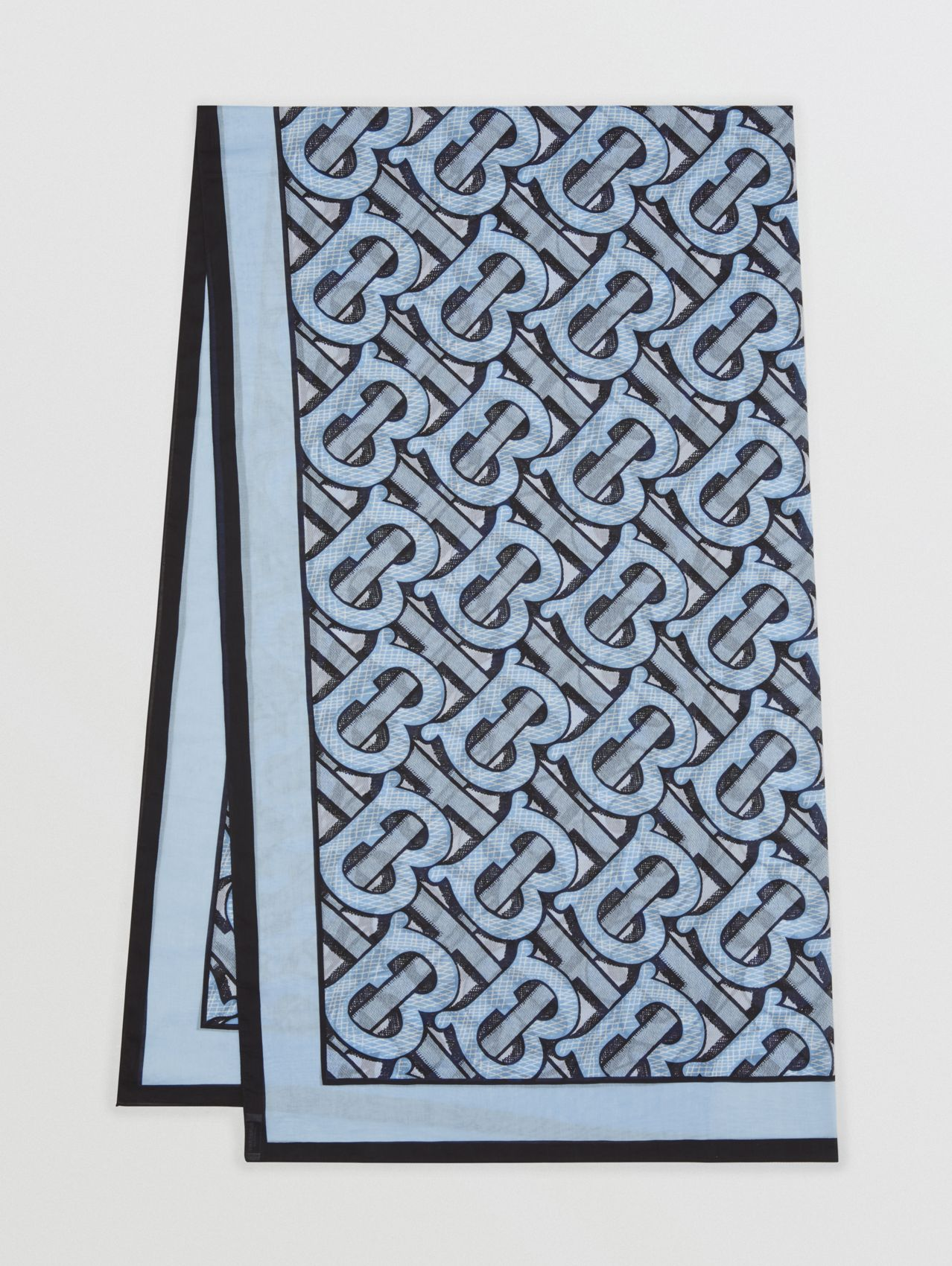Monogram Print Lightweight Cotton Scarf in Pale Azure