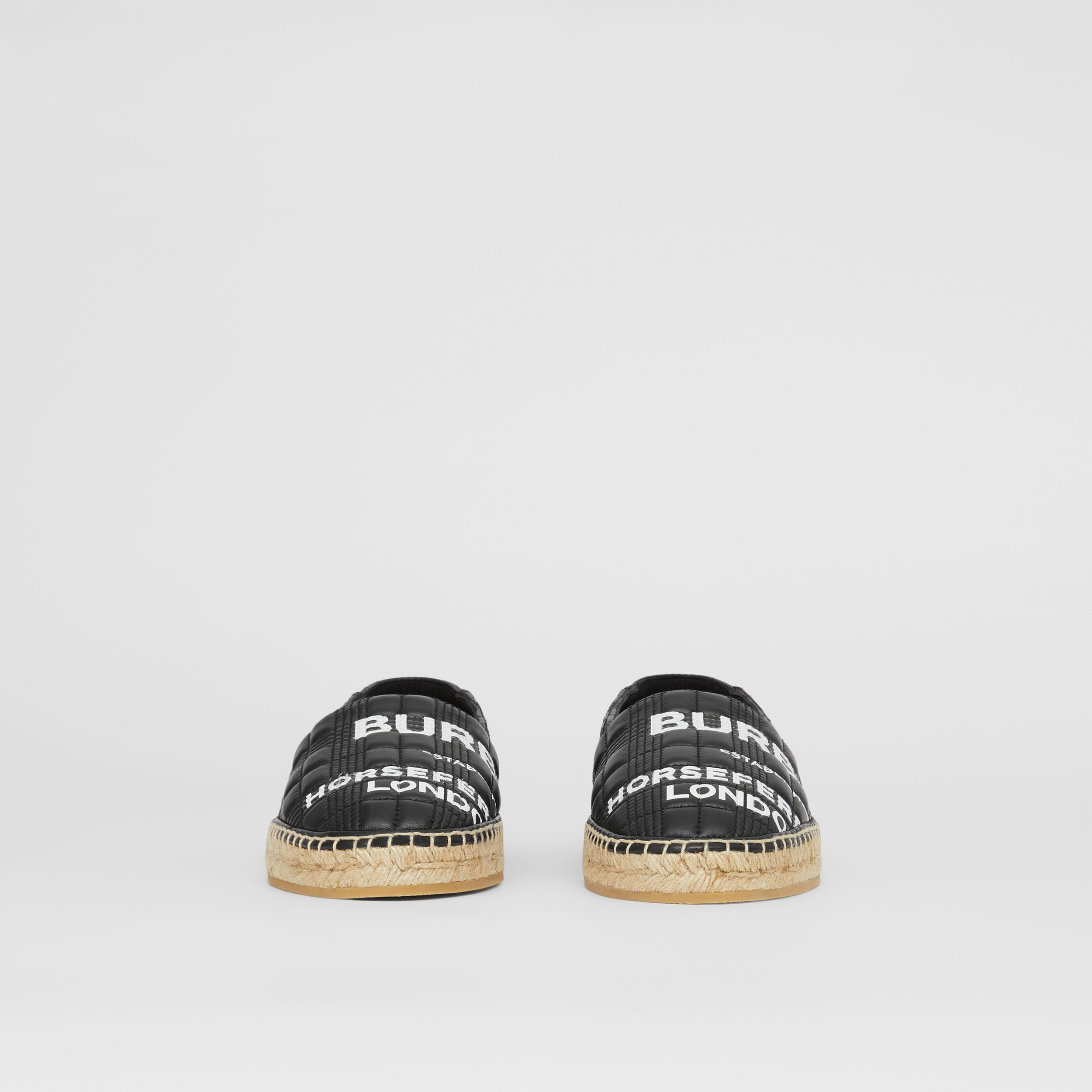 Horseferry Print Quilted Leather Espadrilles in Black - Men | Burberry Australia - 4