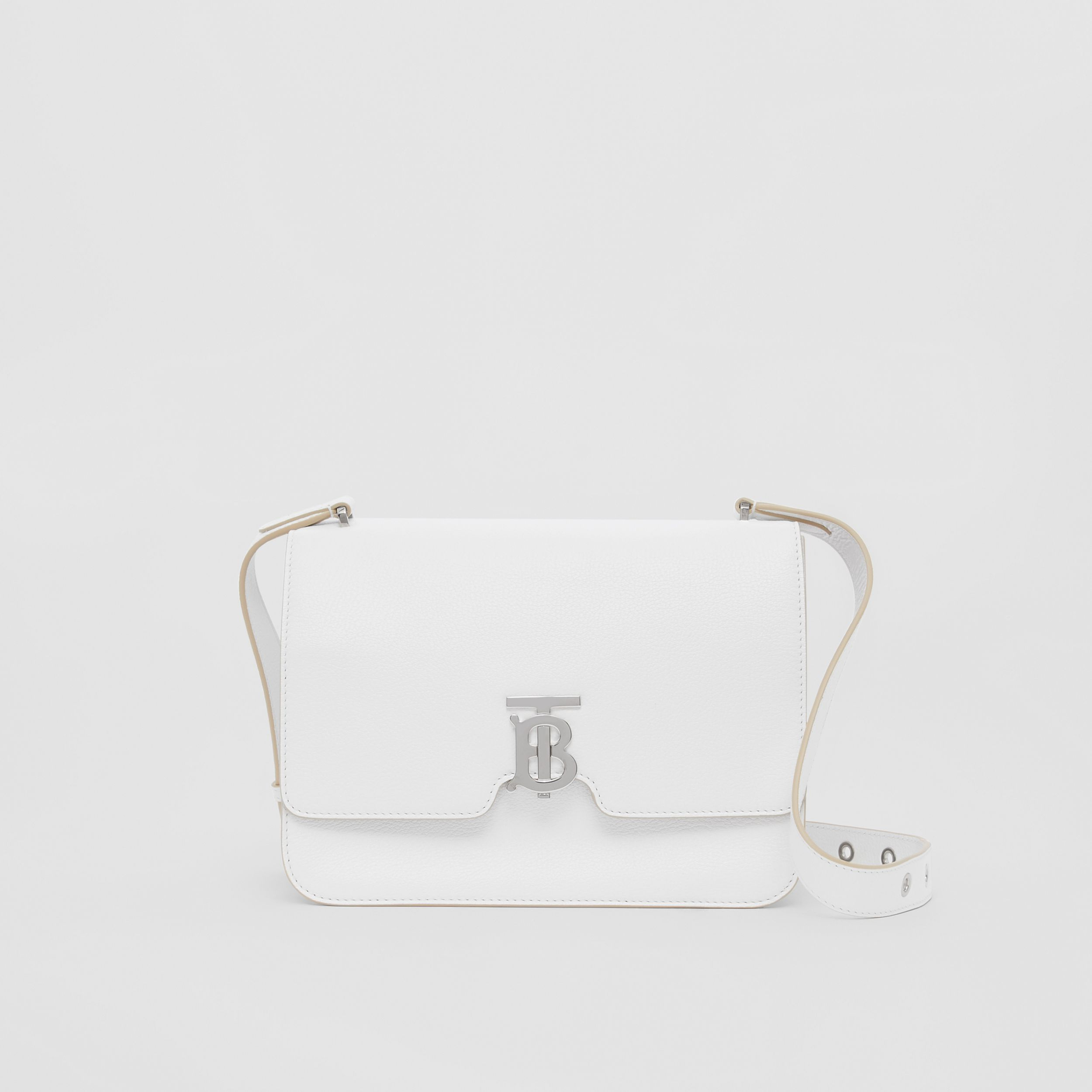 Medium Grainy Leather Alice Bag in Optic White - Women | Burberry - 1