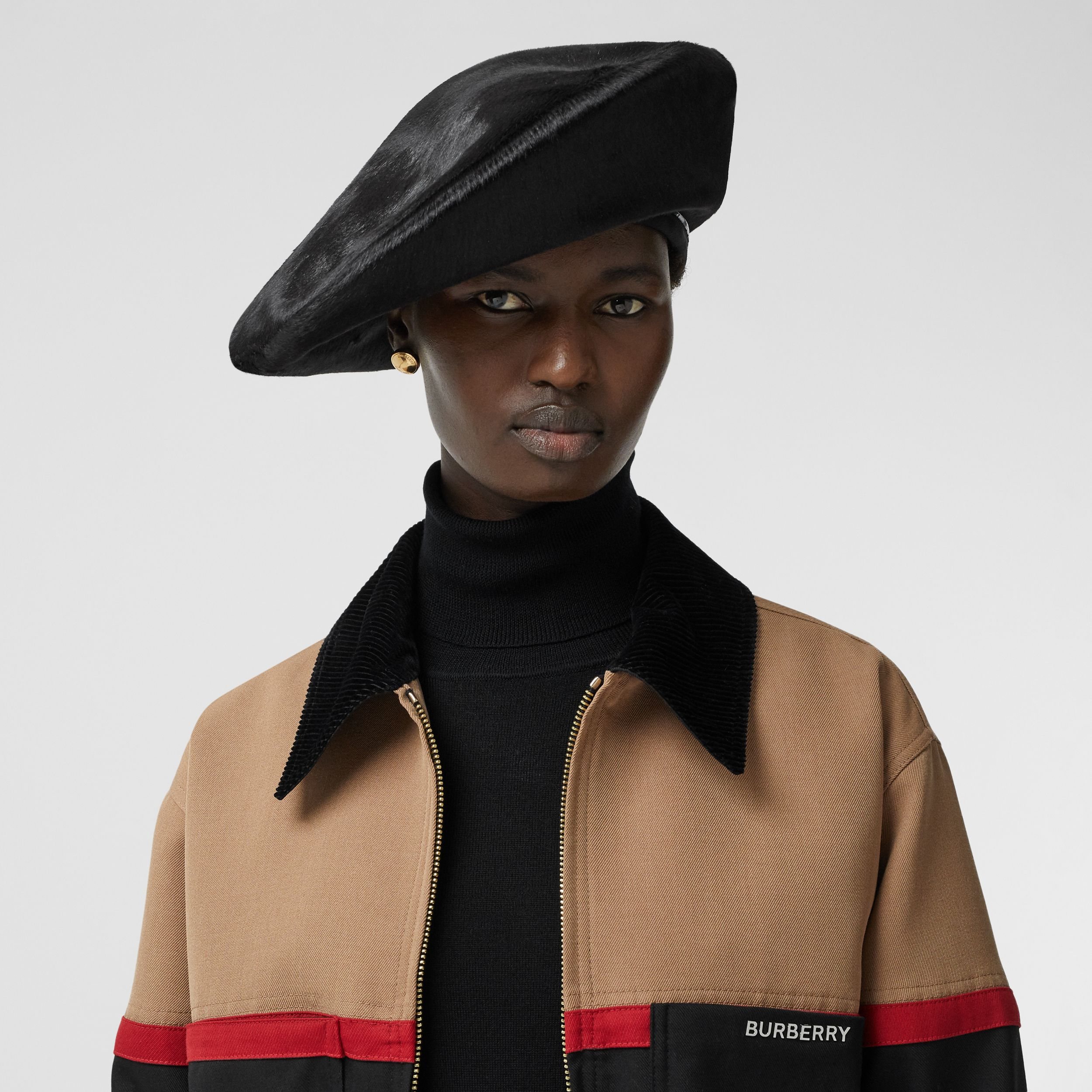 Calf Hair Oversized Beret in Black | Burberry - 3