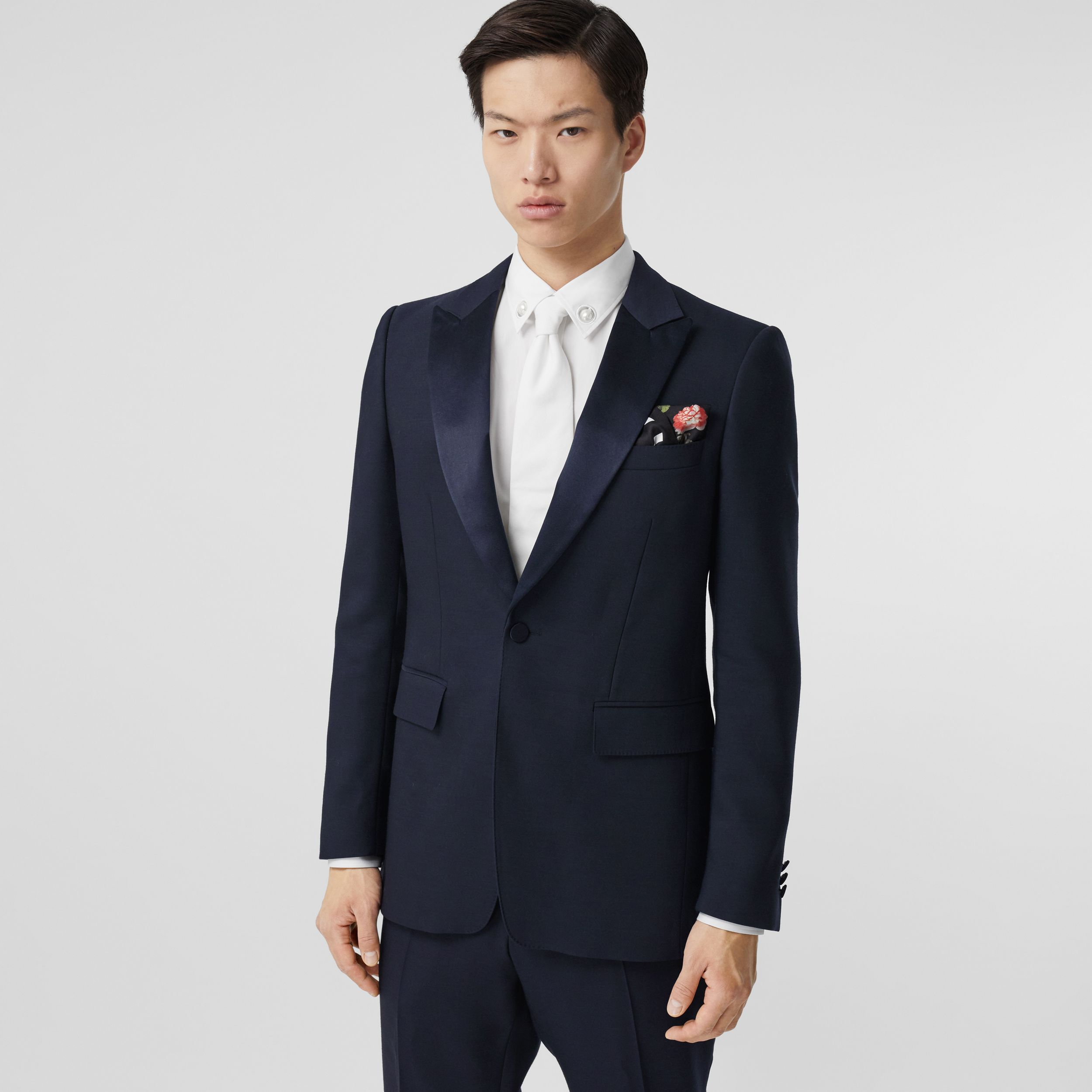 English Fit Wool Silk Blend Tailored Jacket in Navy Black - Men | Burberry - 1