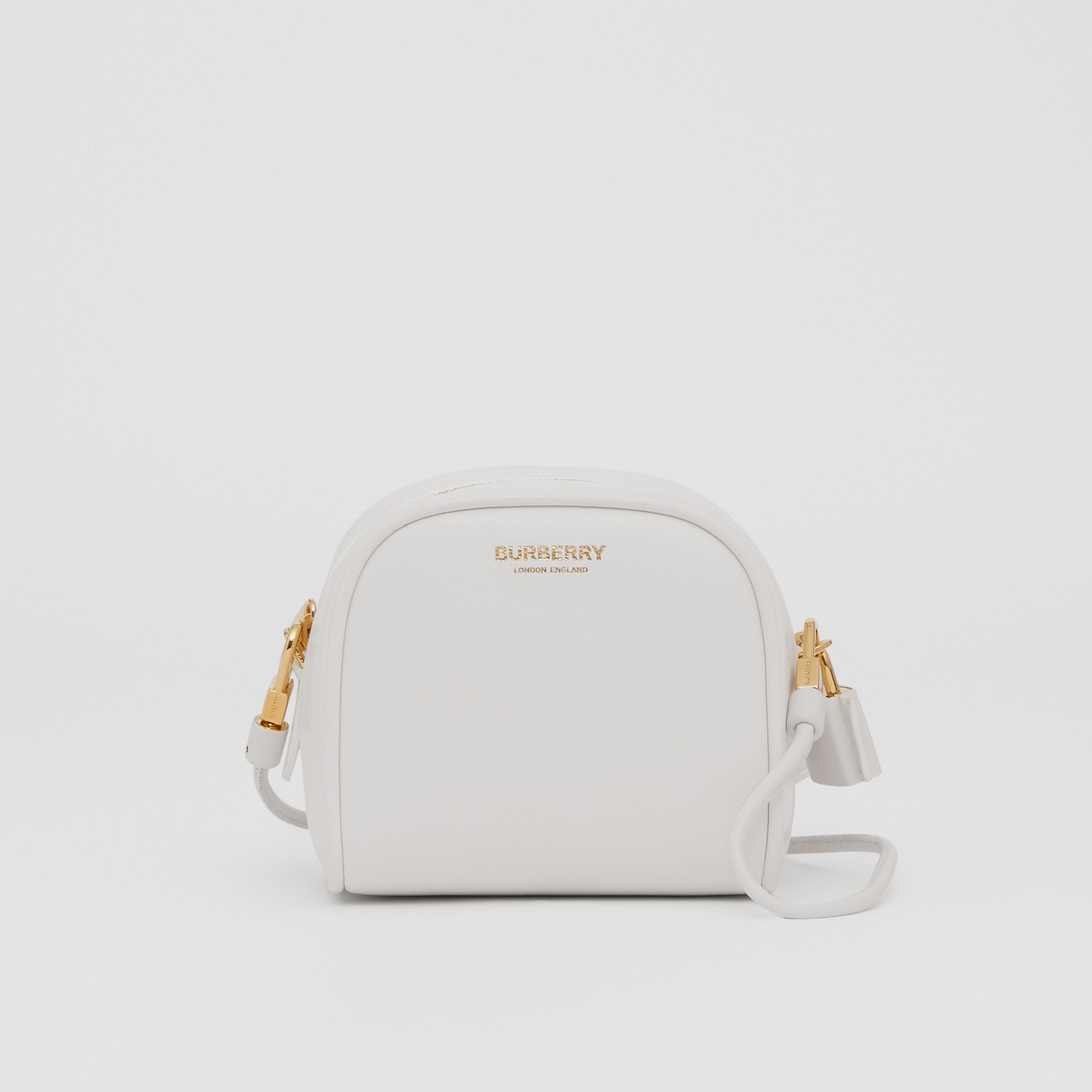 Micro Leather Cube Bag in Optic White | Burberry - 1