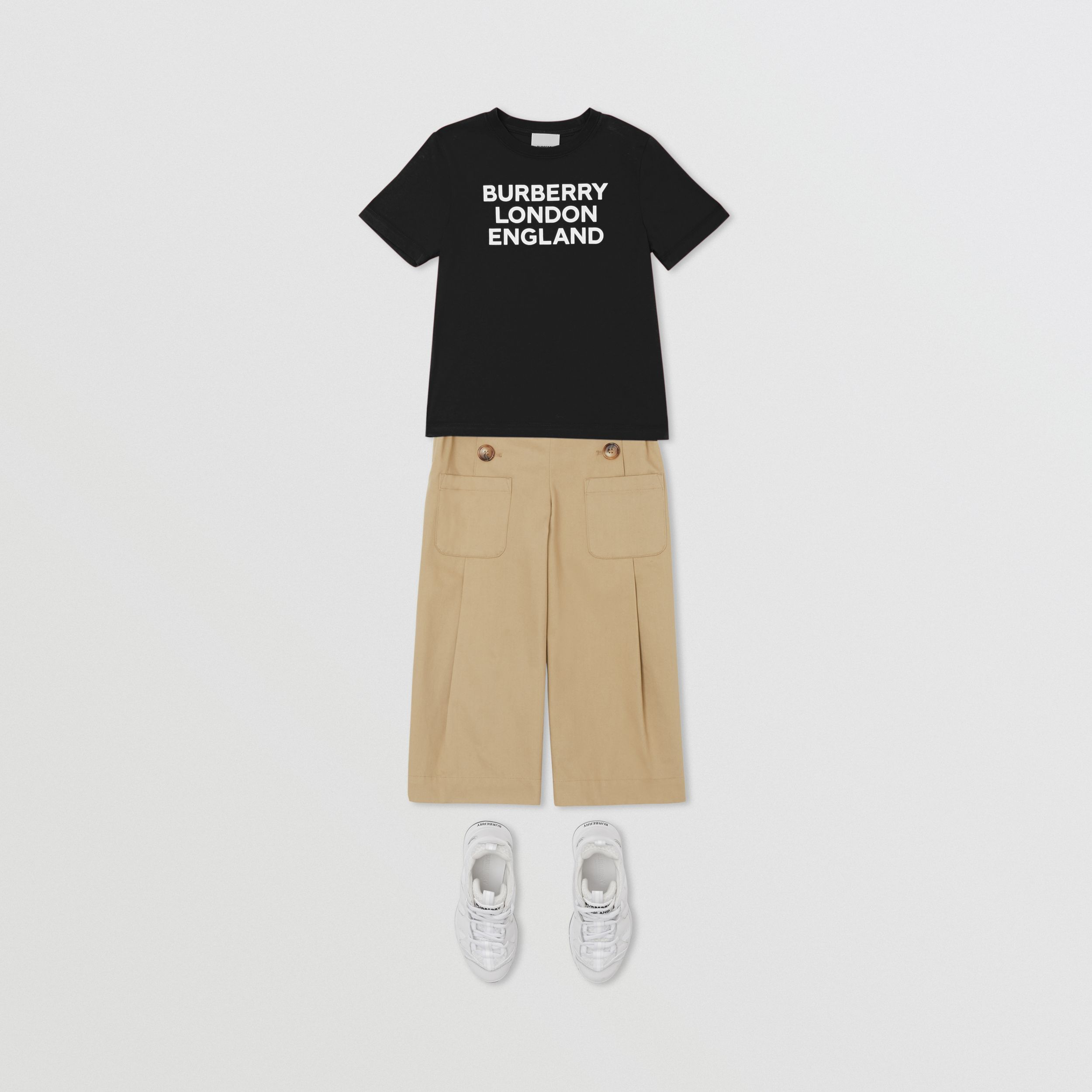 Logo Print Cotton T-shirt in Black | Burberry Canada - 3