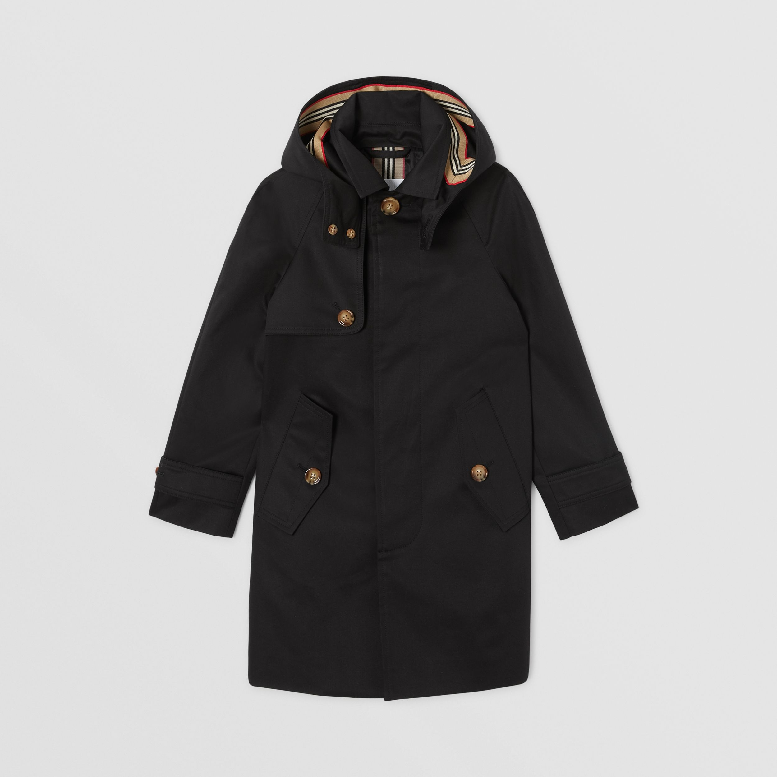Detachable Hood Icon Stripe Trim Cotton Car Coat in Black | Burberry United Kingdom - 1