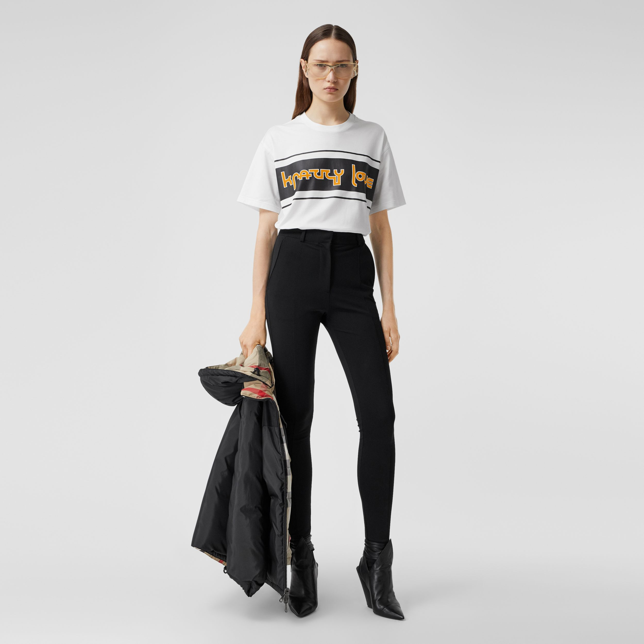 Slogan Print Cotton Oversized T-shirt in White - Women | Burberry - 1