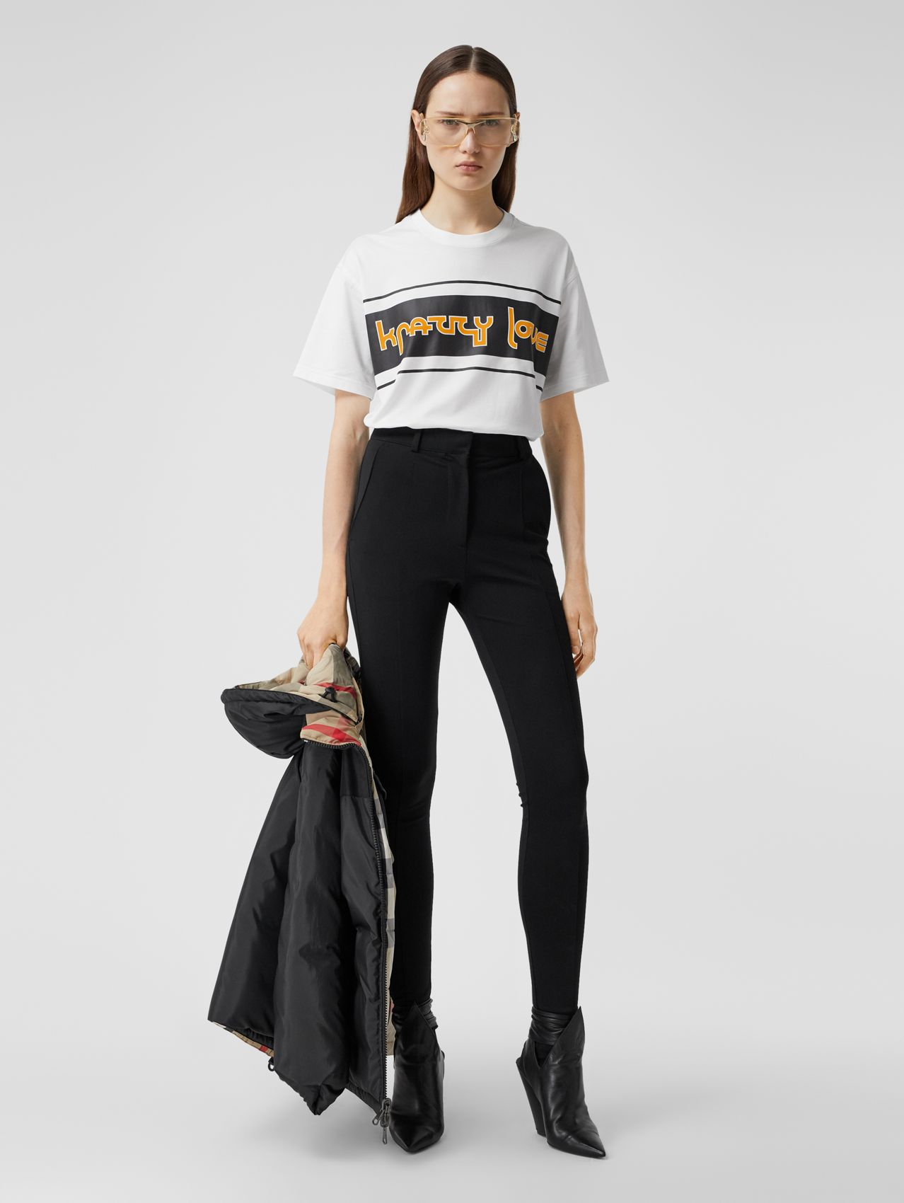 Slogan Print Cotton Oversized T-shirt in White