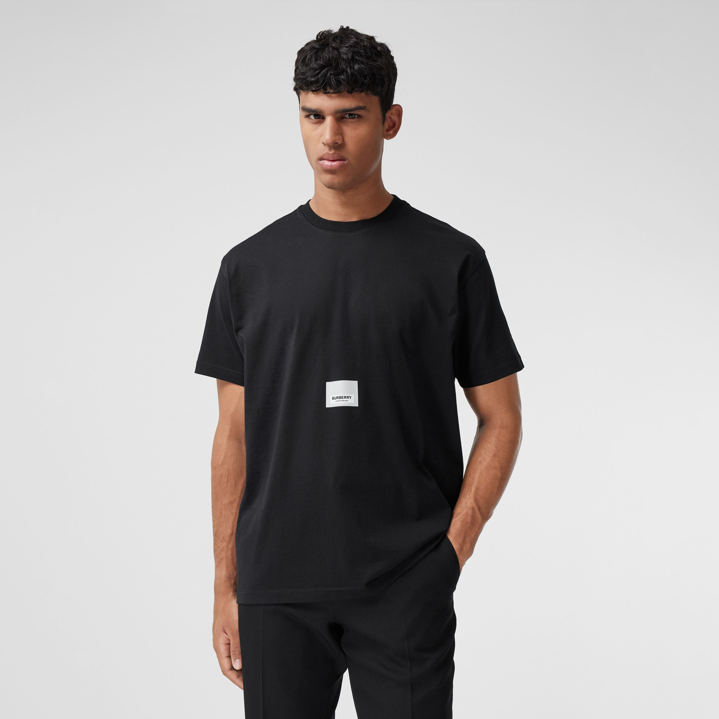 Logo Print Cotton T-shirt in Black - Men | Burberry - 1