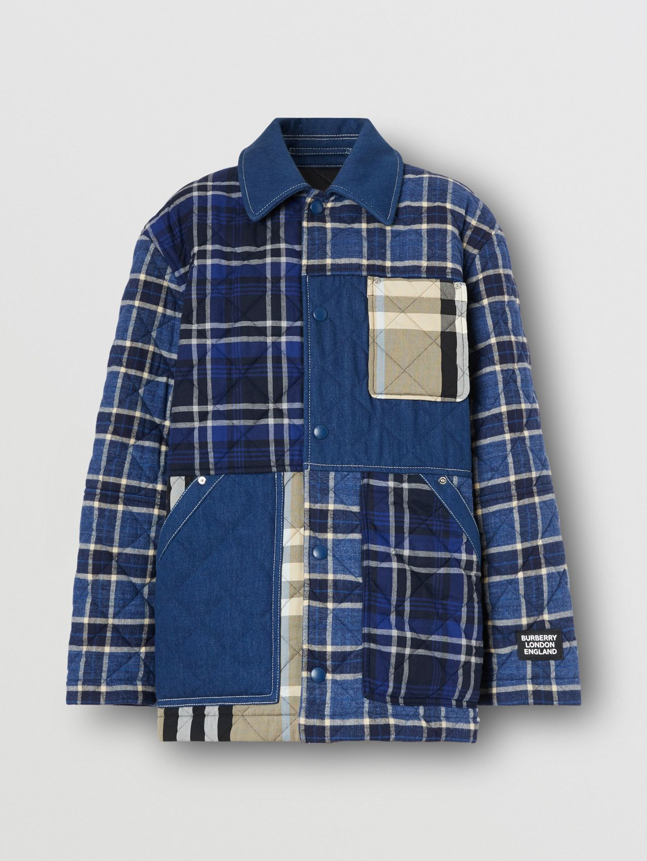 Quilted Check Cotton and Denim Overshirt in Navy