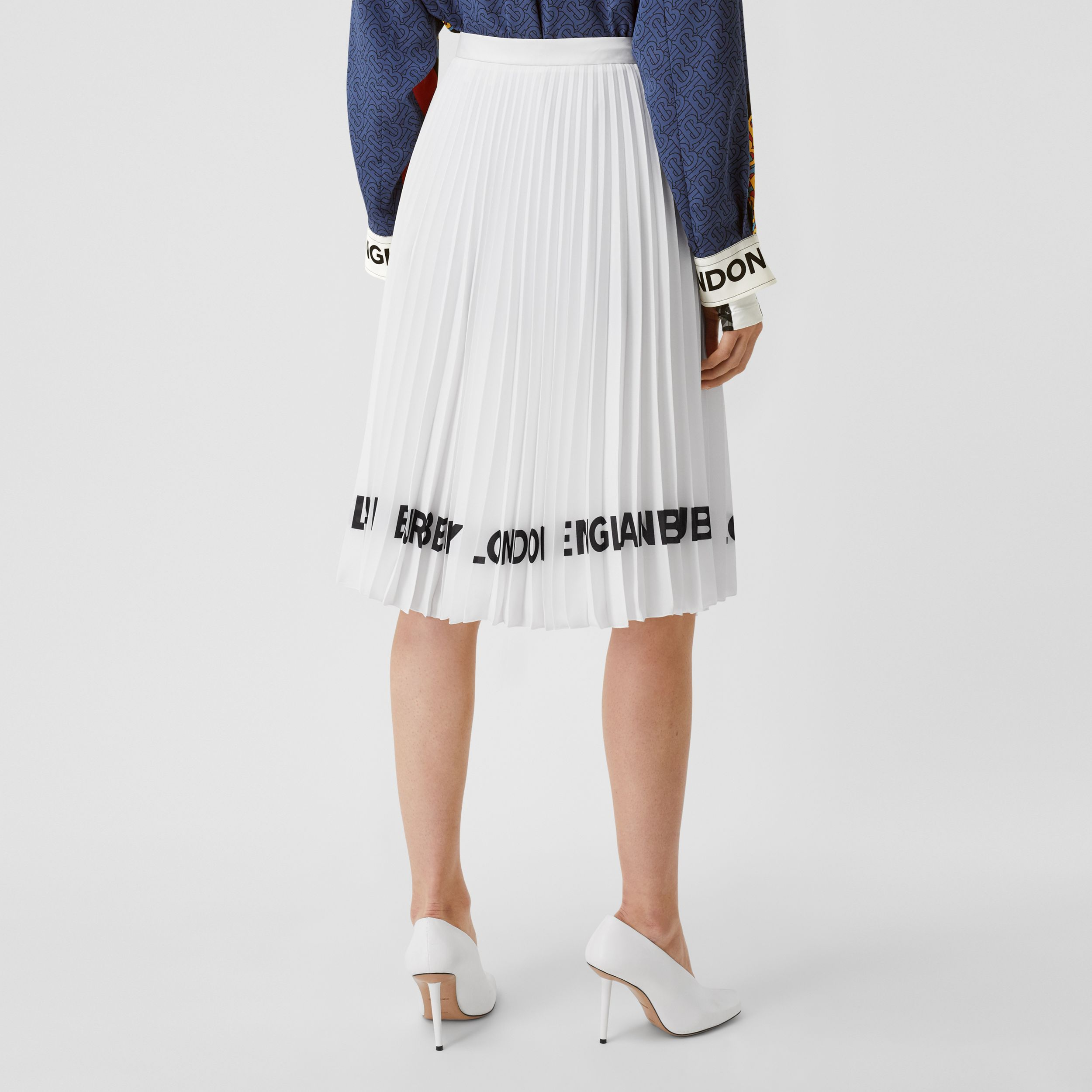 Logo Print Crepe De Chine Pleated Skirt in White - Women | Burberry - 3