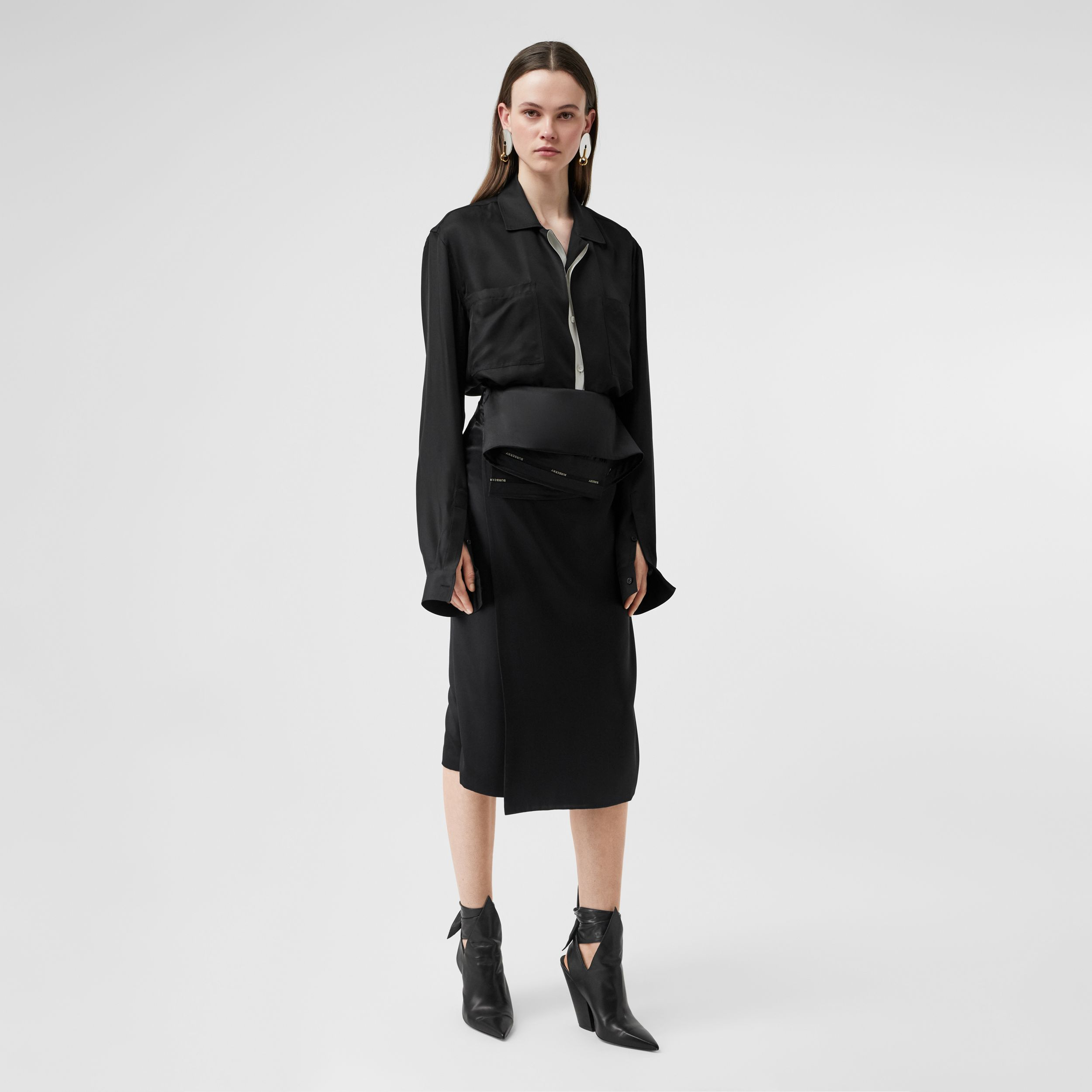Silk Satin Foldover Skirt in Black - Women | Burberry - 1