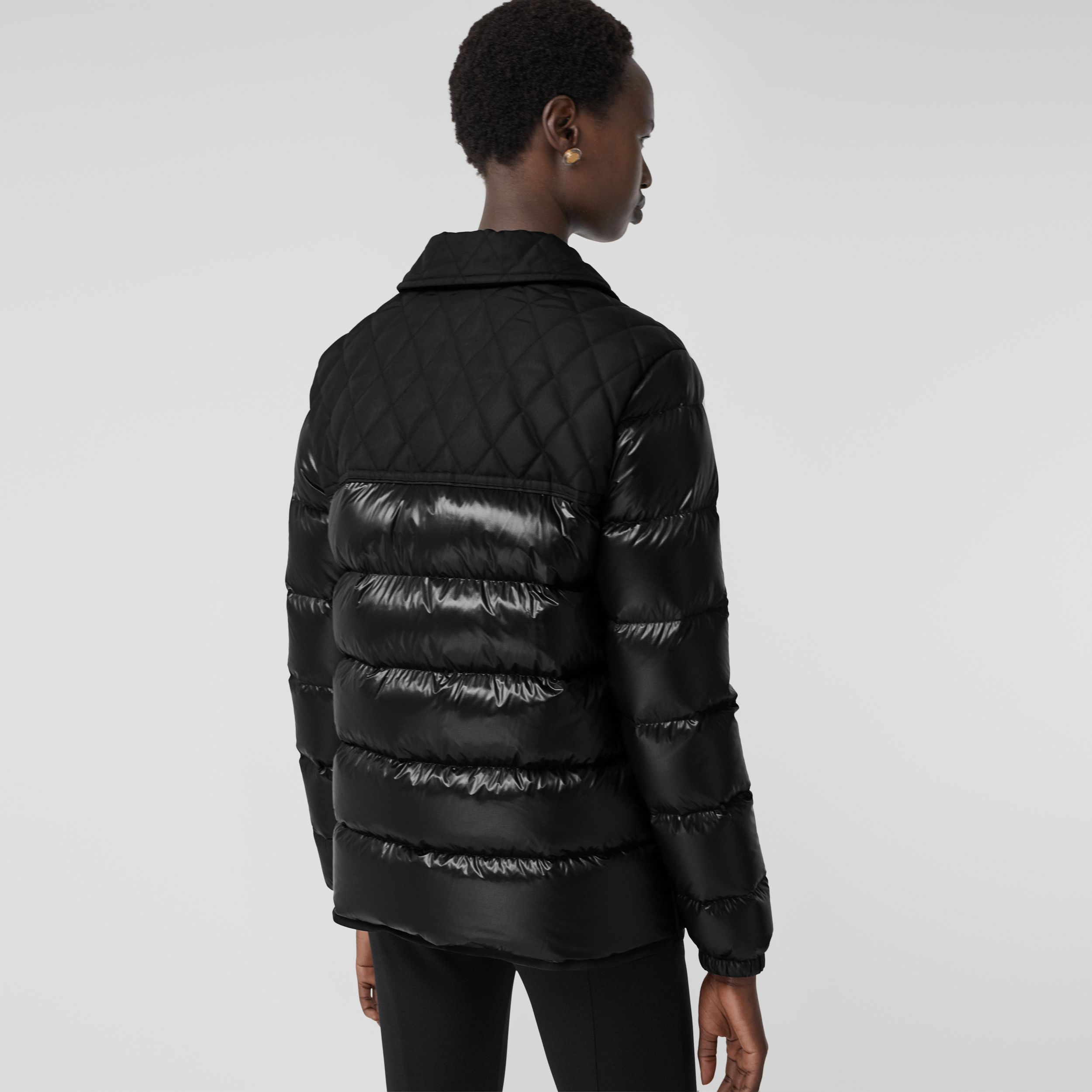 Diamond Quilted Panel Puffer Jacket in Black - Women | Burberry Singapore - 3