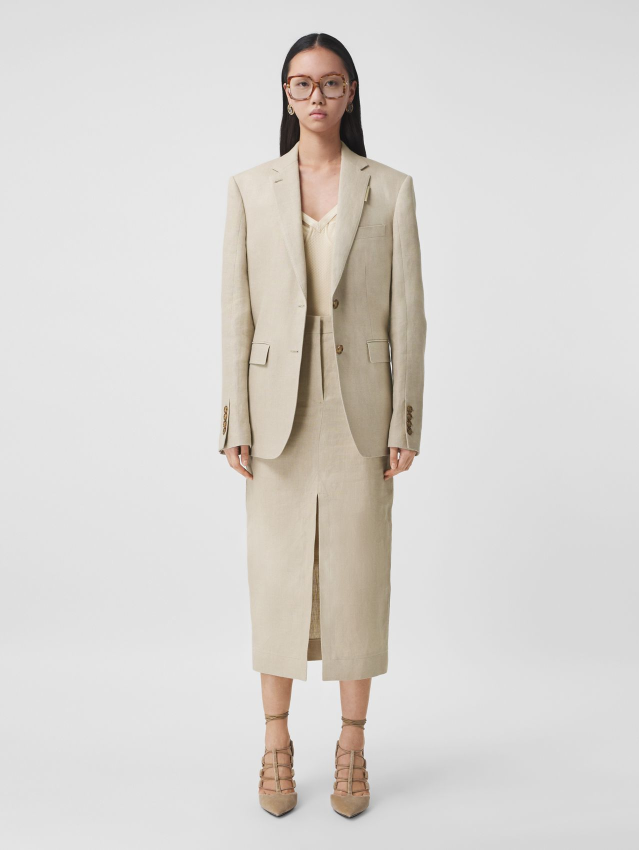 Linen Oversized Tailored Jacket in Oatmeal