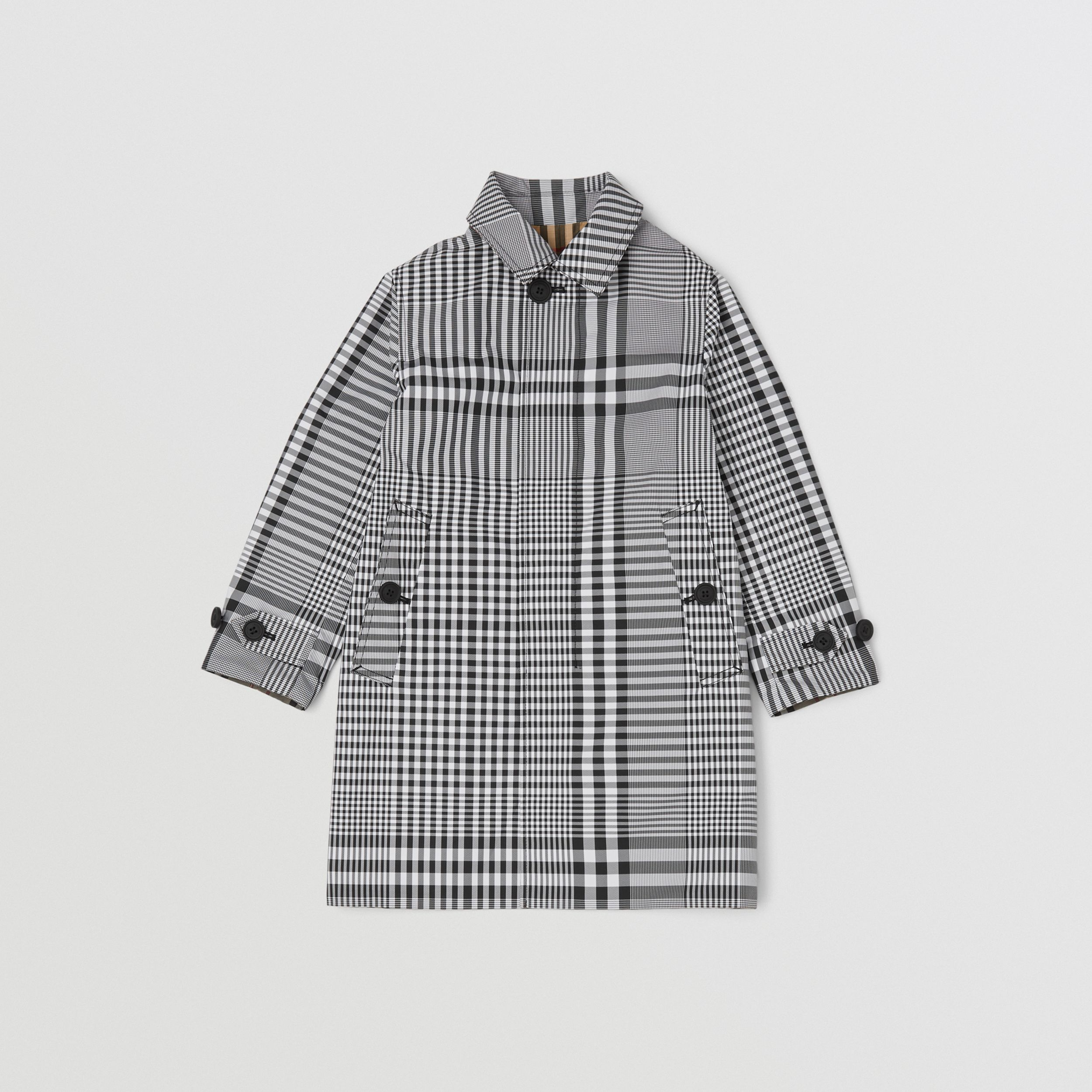 Reversible Check Car Coat in Black | Burberry - 1