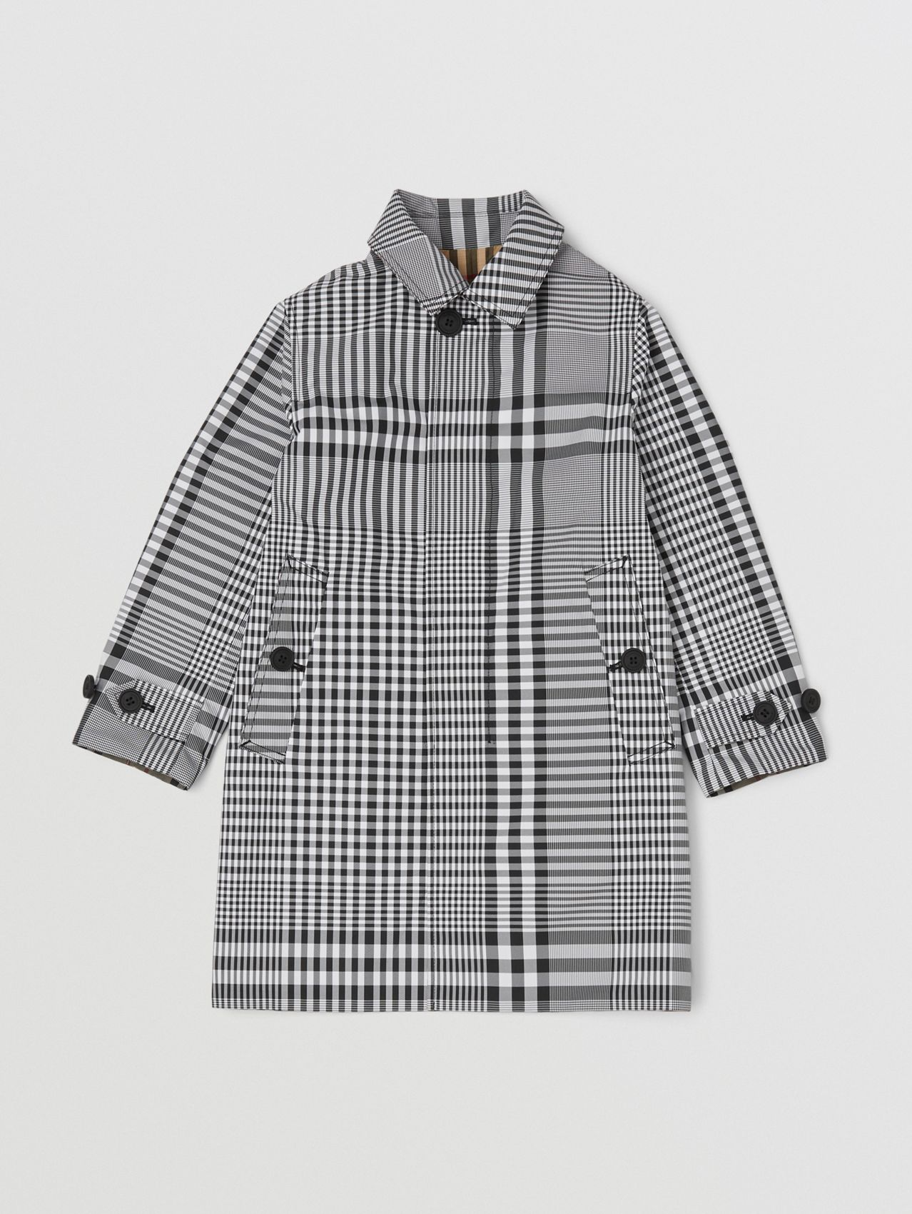 Reversible Check Car Coat in Black