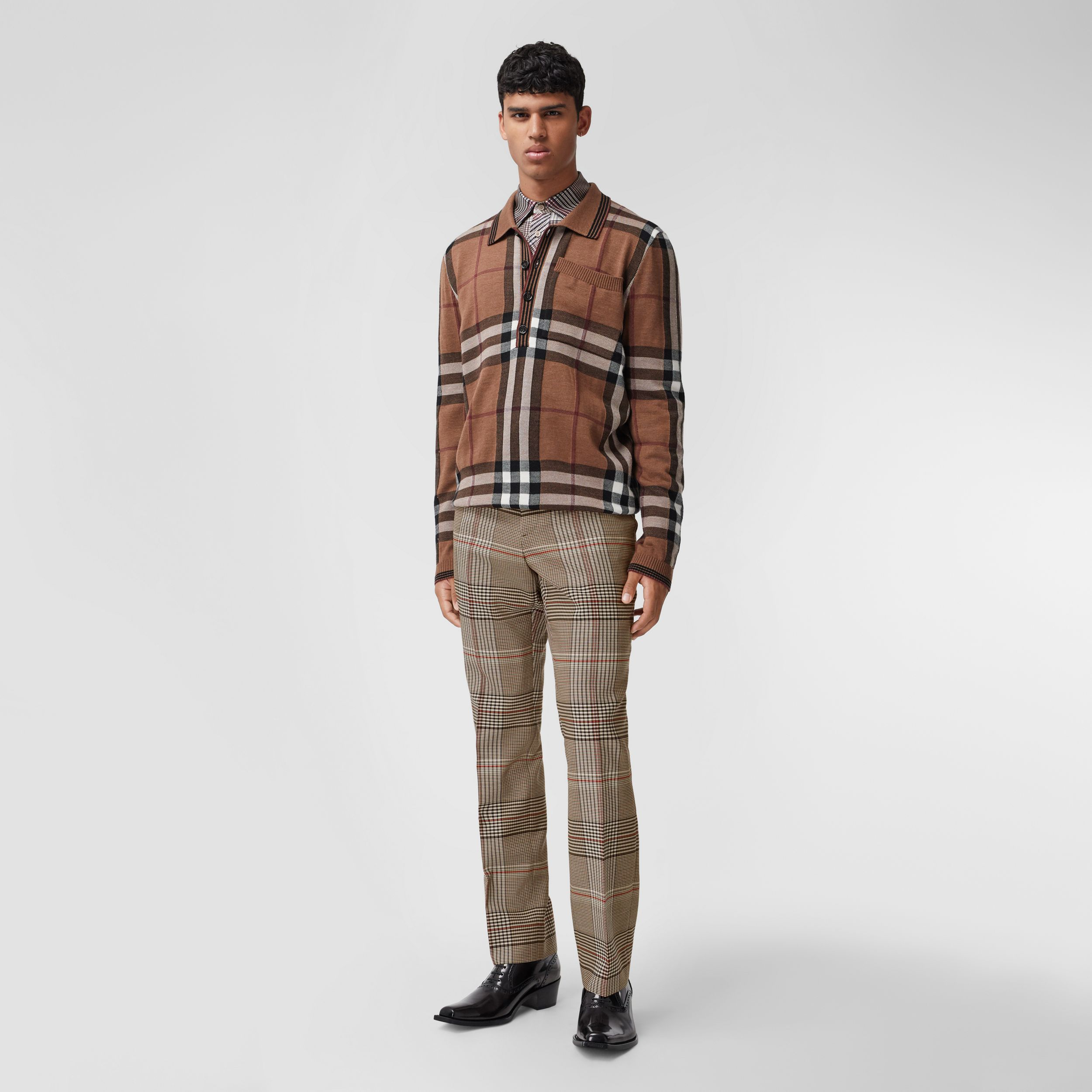 Check Wool Tailored Trousers in Beige | Burberry - 1