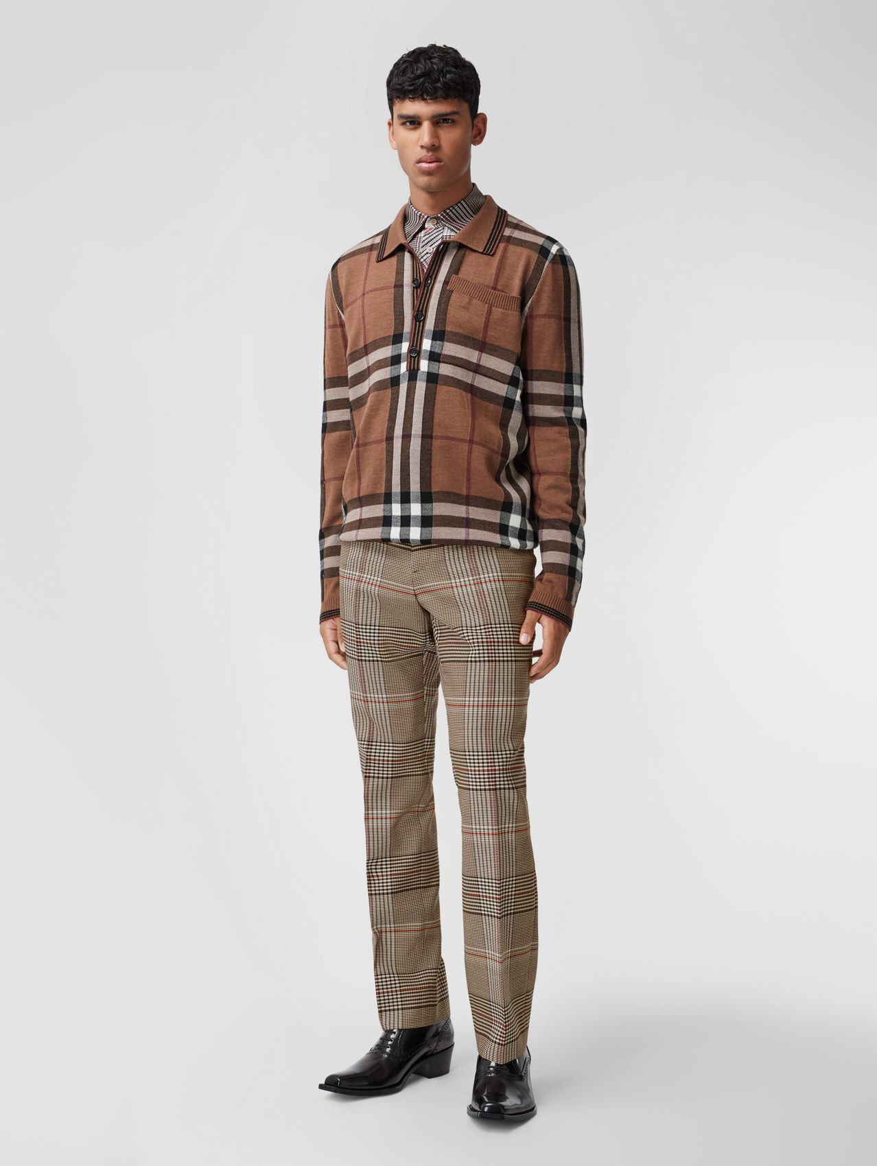 Check Wool Tailored Trousers in Beige