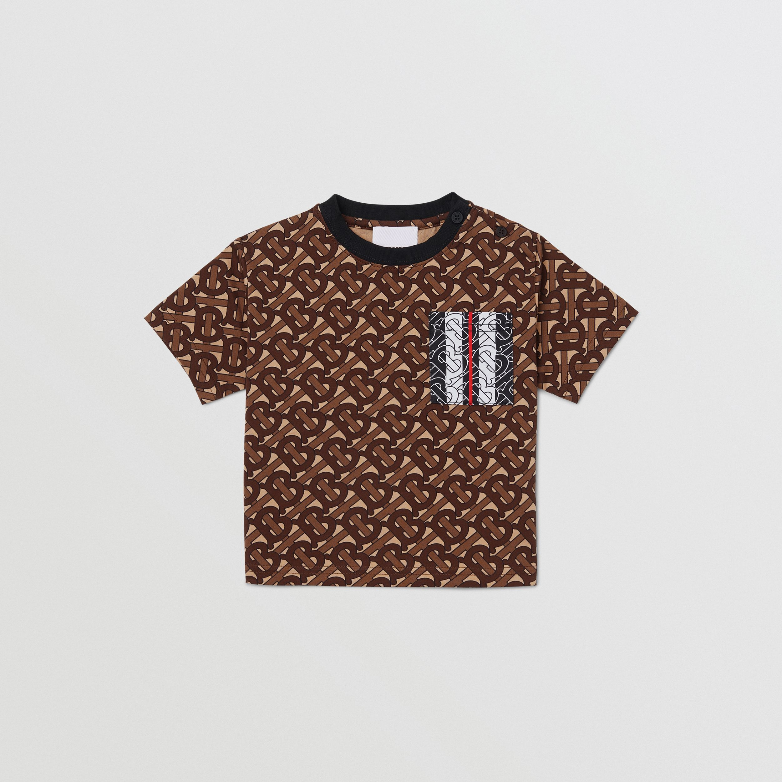 Monogram Stripe Print Cotton T-shirt in Bridle Brown - Children | Burberry Singapore - 1