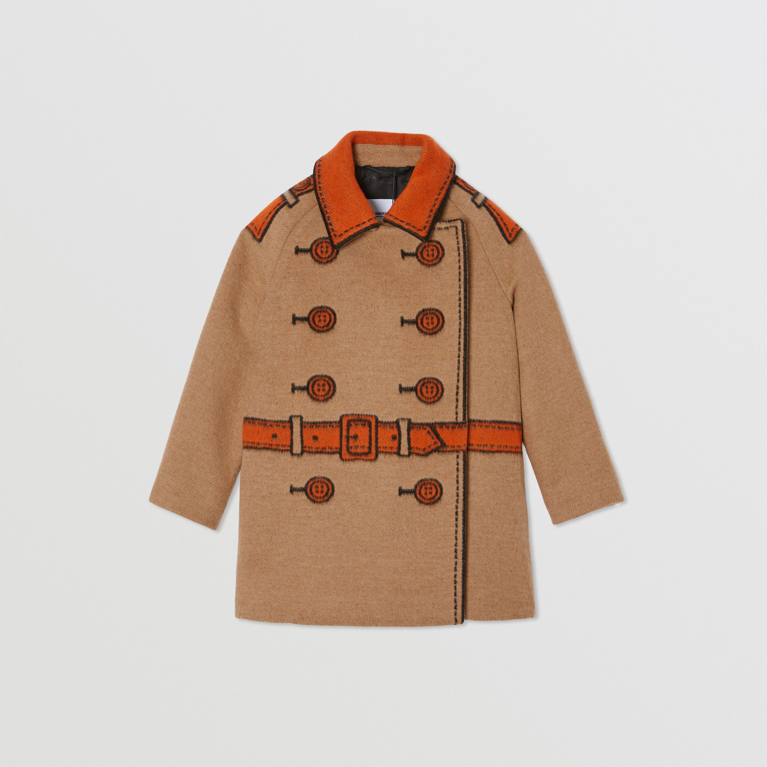 Trompe L'Oeil Wool Jacquard Coat in Camel | Burberry - 1