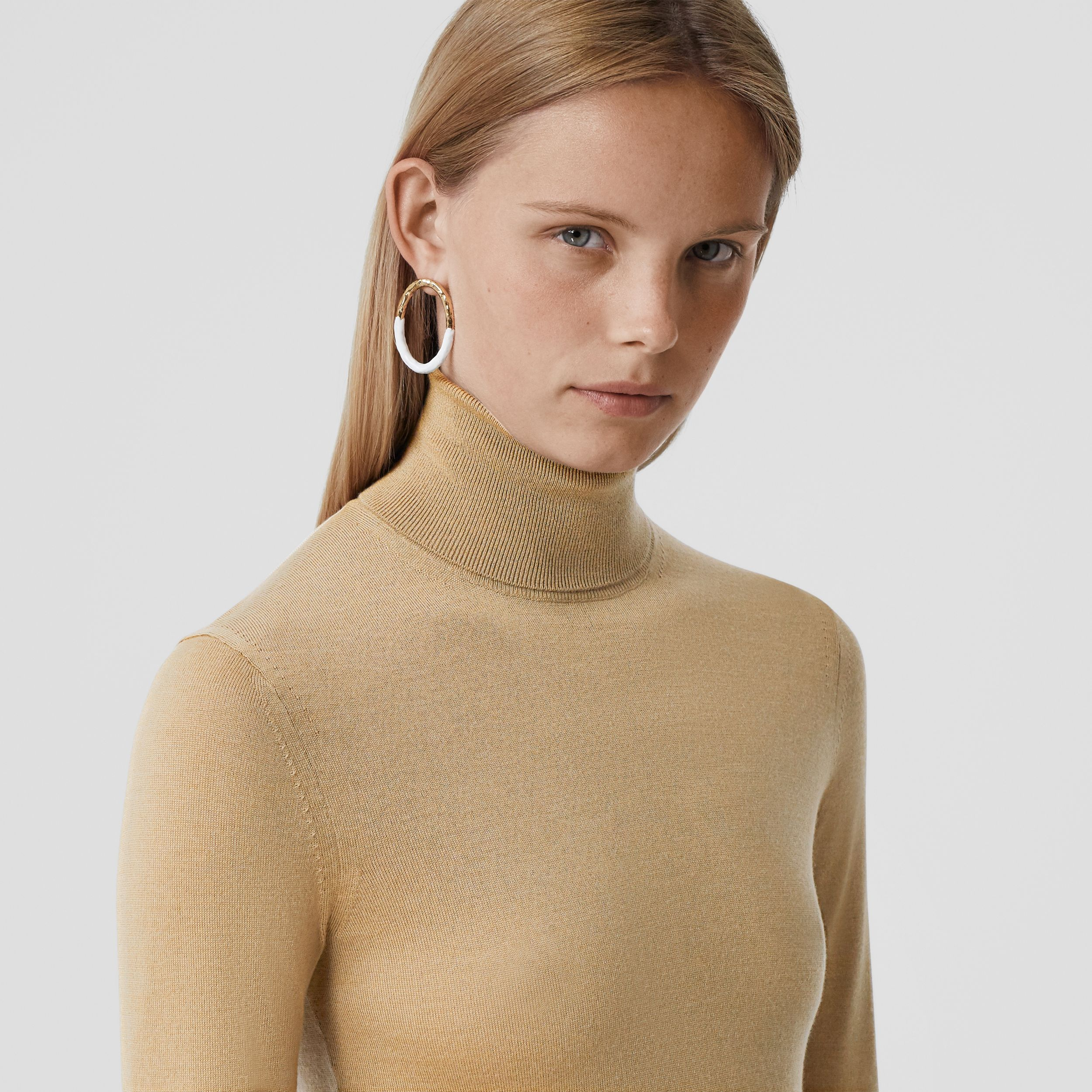 Two-tone Merino Wool Silk Roll-neck Sweater in Camel - Women | Burberry - 2
