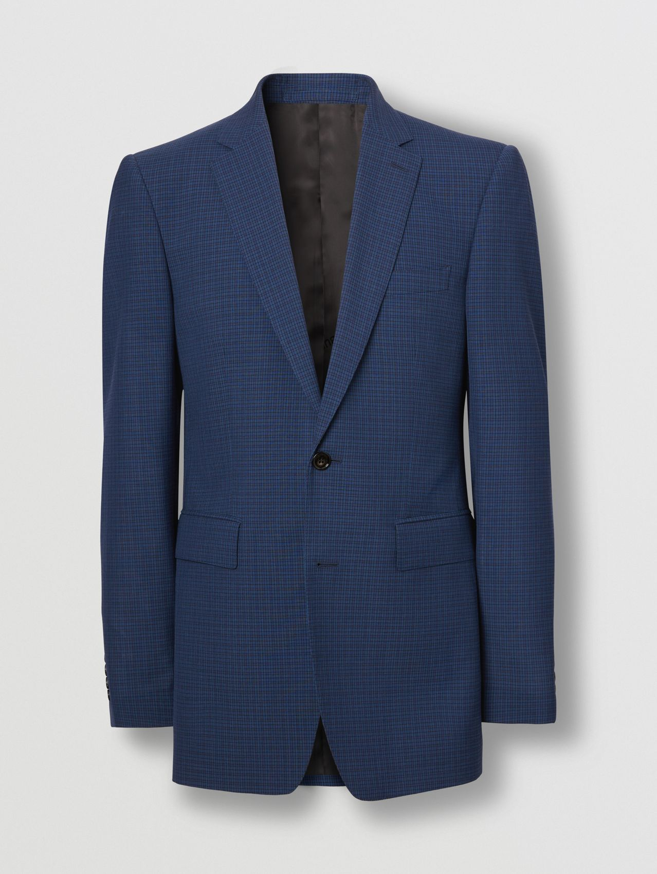 Classic Fit Check Wool Suit in Dark Cerulean Blue