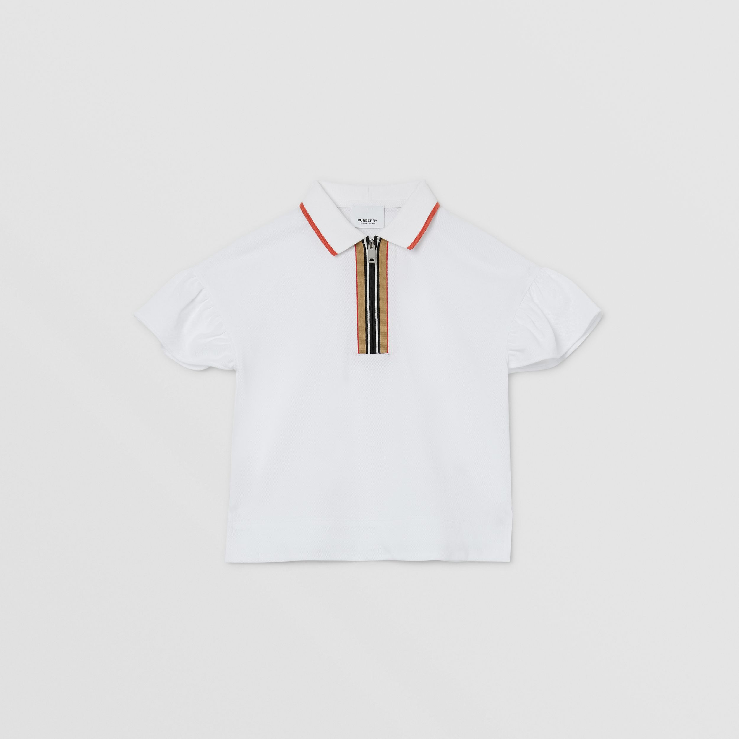 Icon Stripe Detail Cotton Zip-front Polo Shirt in White | Burberry United Kingdom - 1