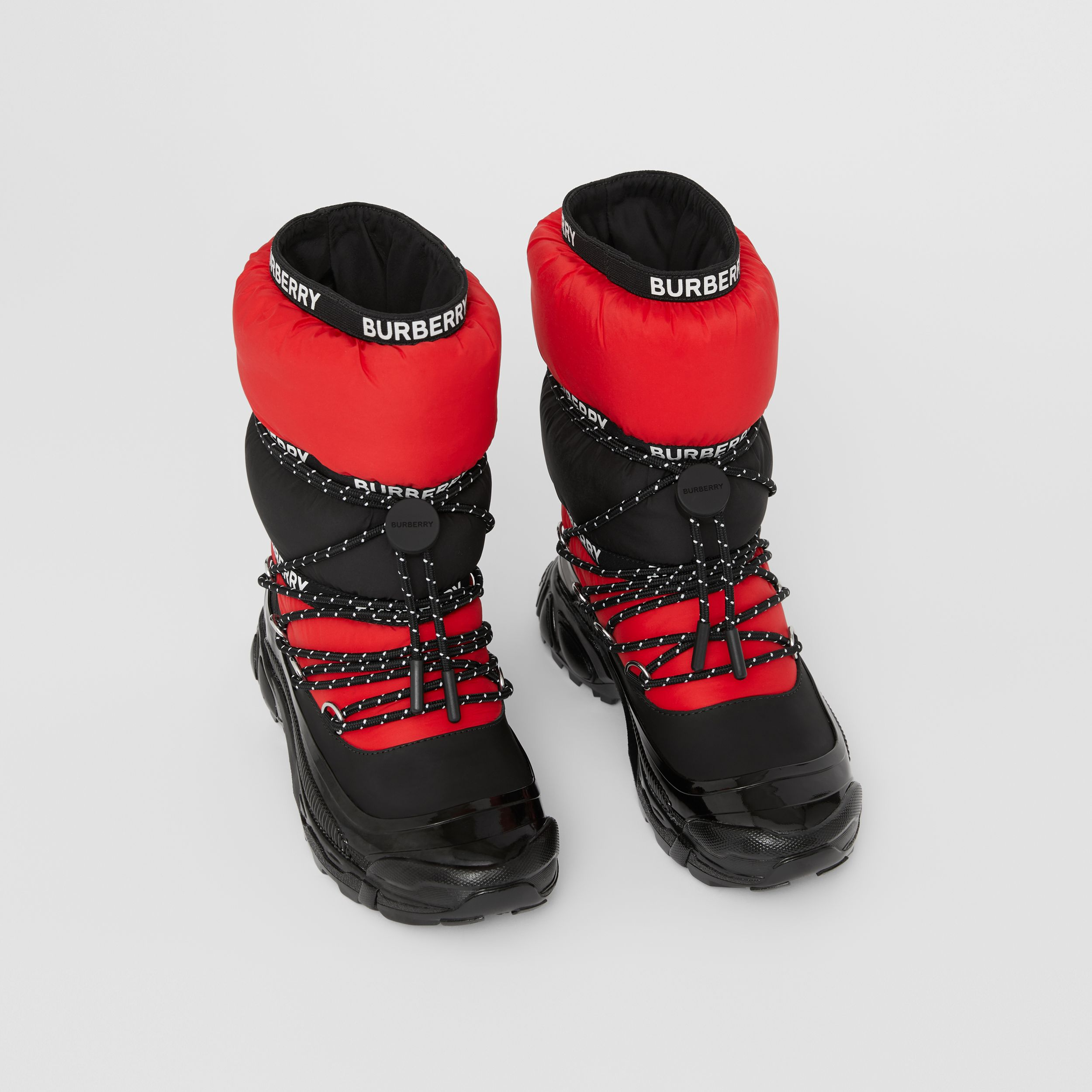 Logo Tape Colour Block Snow Boots in Black/bright Red - Children | Burberry - 1