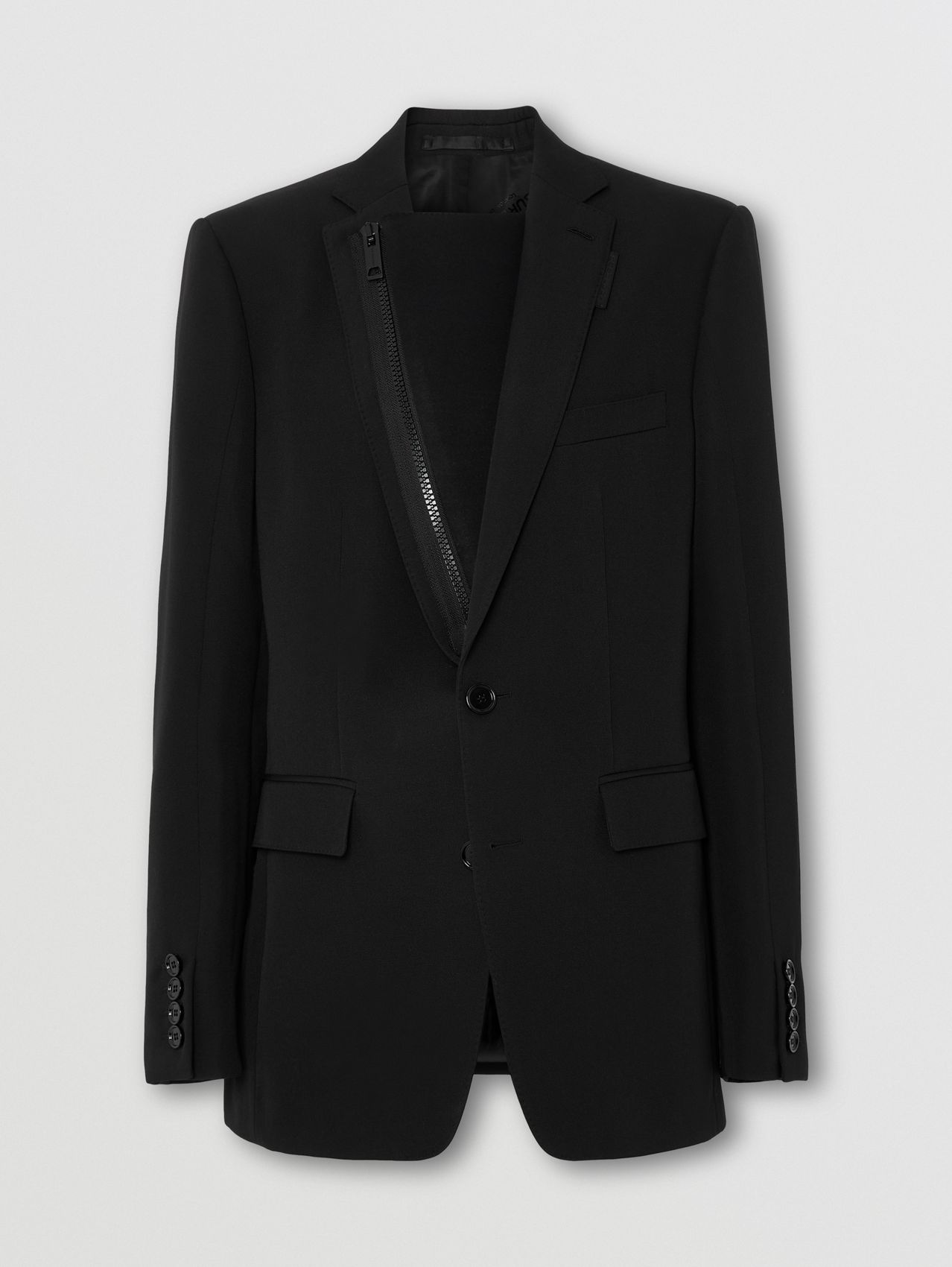 Neoprene Zip Panel Wool Tailored Jacket in Black