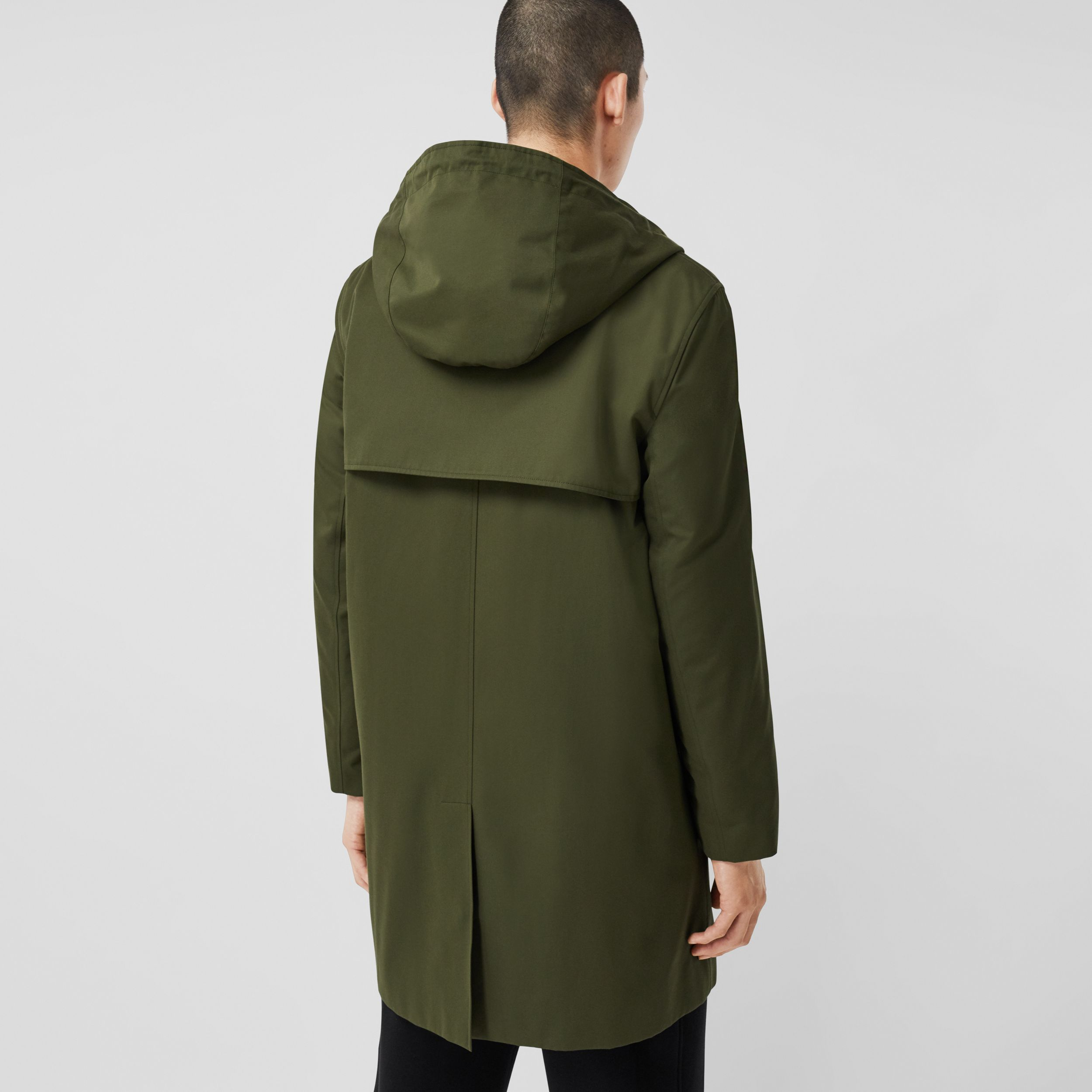 Cotton Gabardine Hooded Coat in Dark Olive Green - Men | Burberry - 3