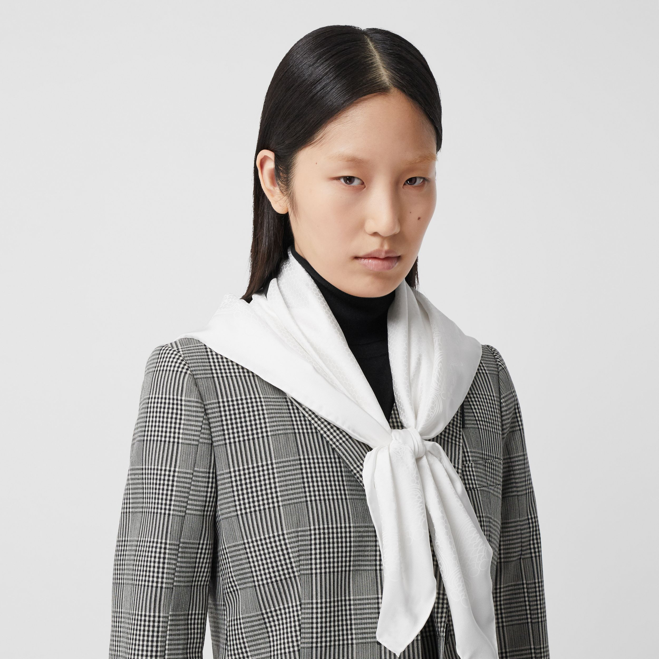 Lace and Logo Print Silk Square Scarf in White | Burberry Australia - 3
