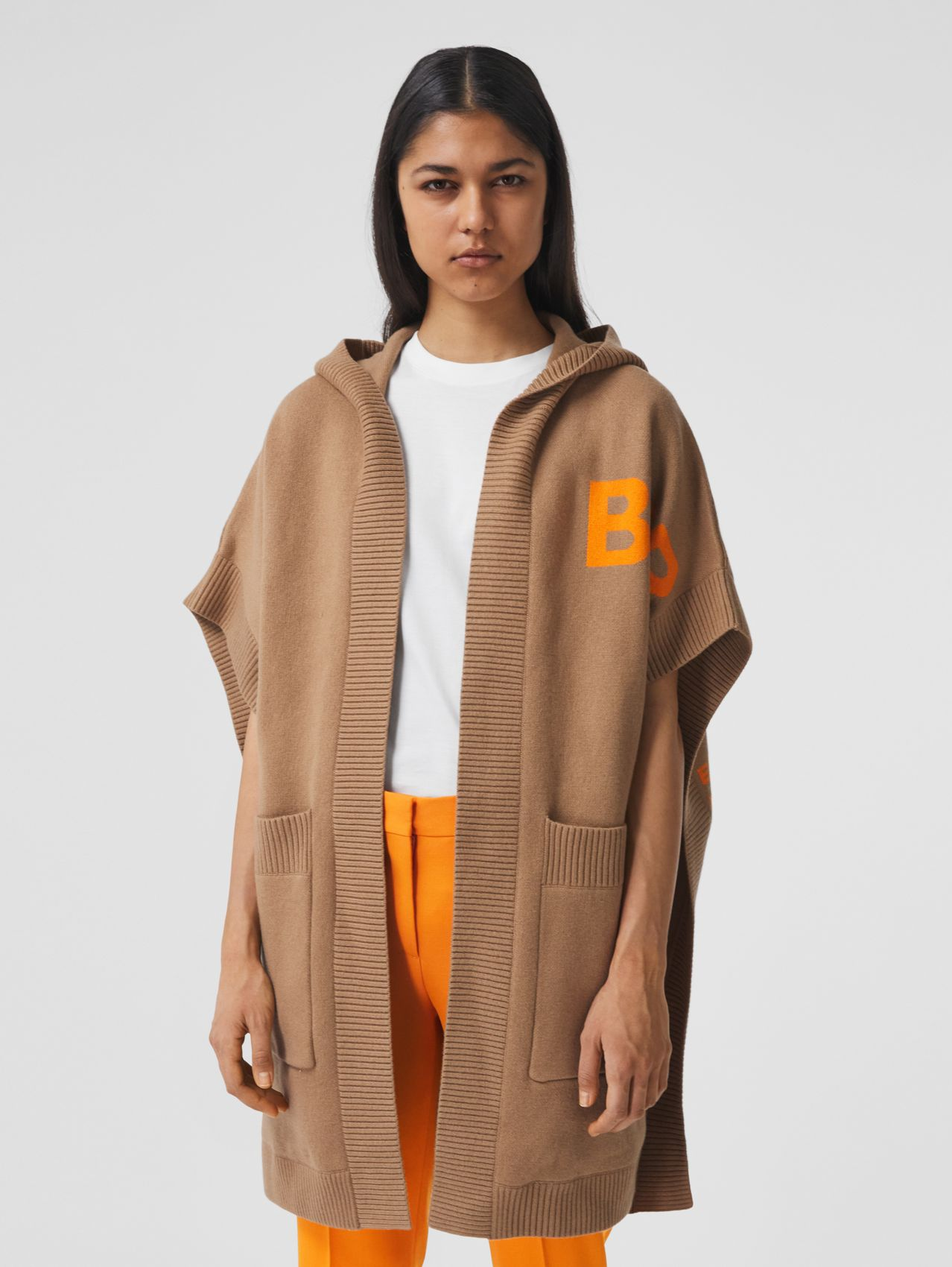Horseferry Cashmere Blend Jacquard Hooded Cape in Camel